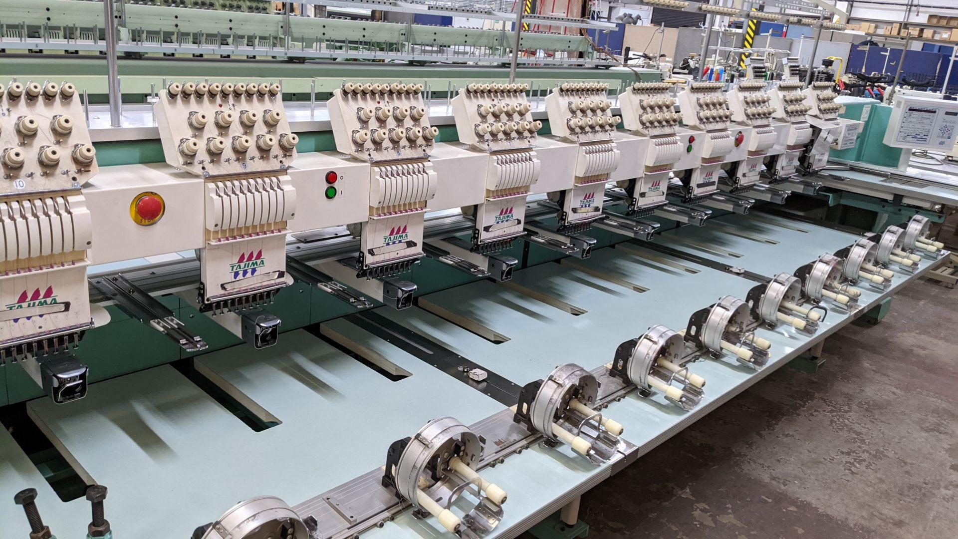 Tokai Tajima model TMFD-C912 electronic 12 head embroidery machine, type 2-2FX - Image 5 of 27