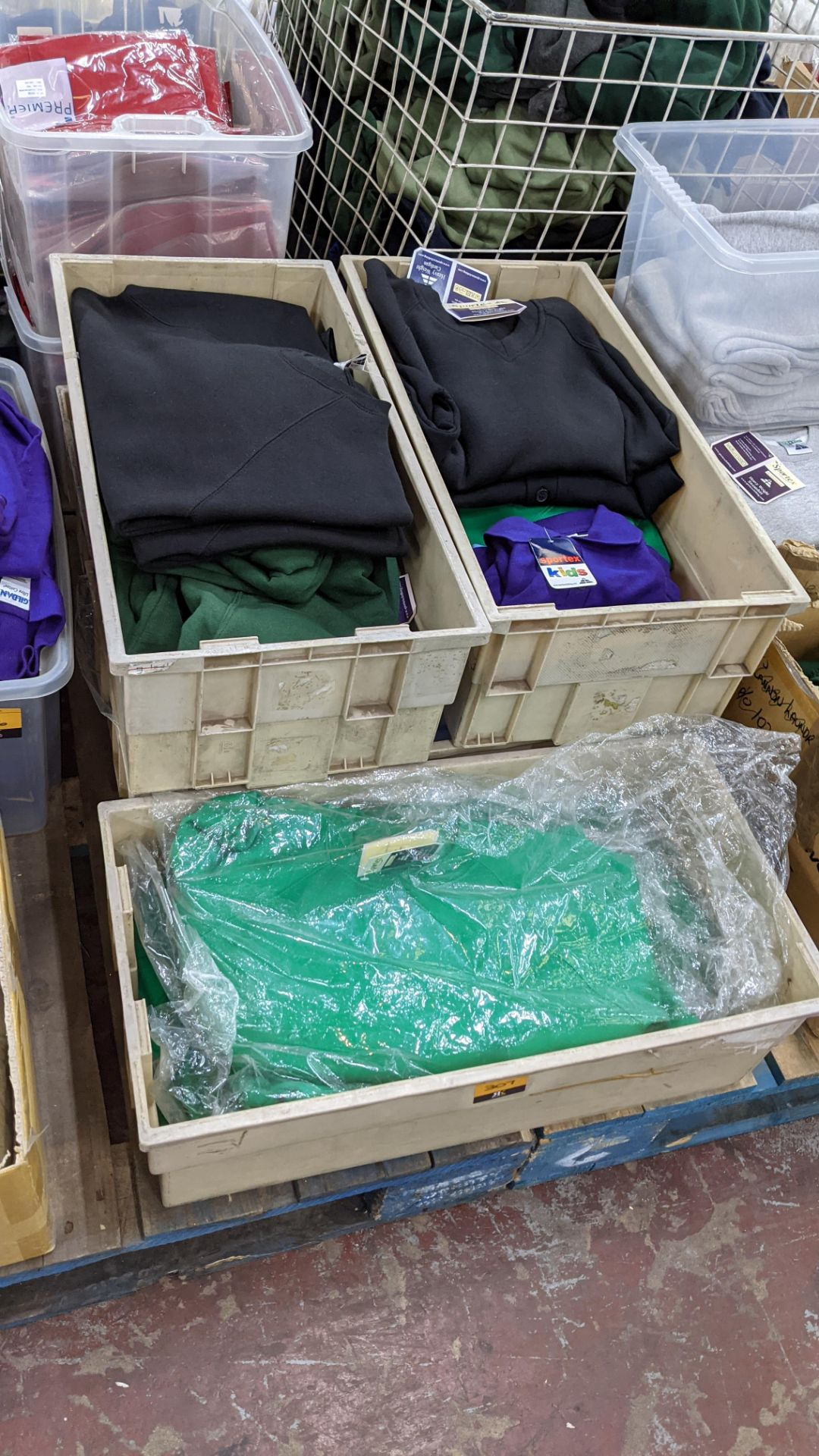 The contents of 5 crates of assorted children's sweatshirts, polo shirts & other school clothing. - Image 8 of 8