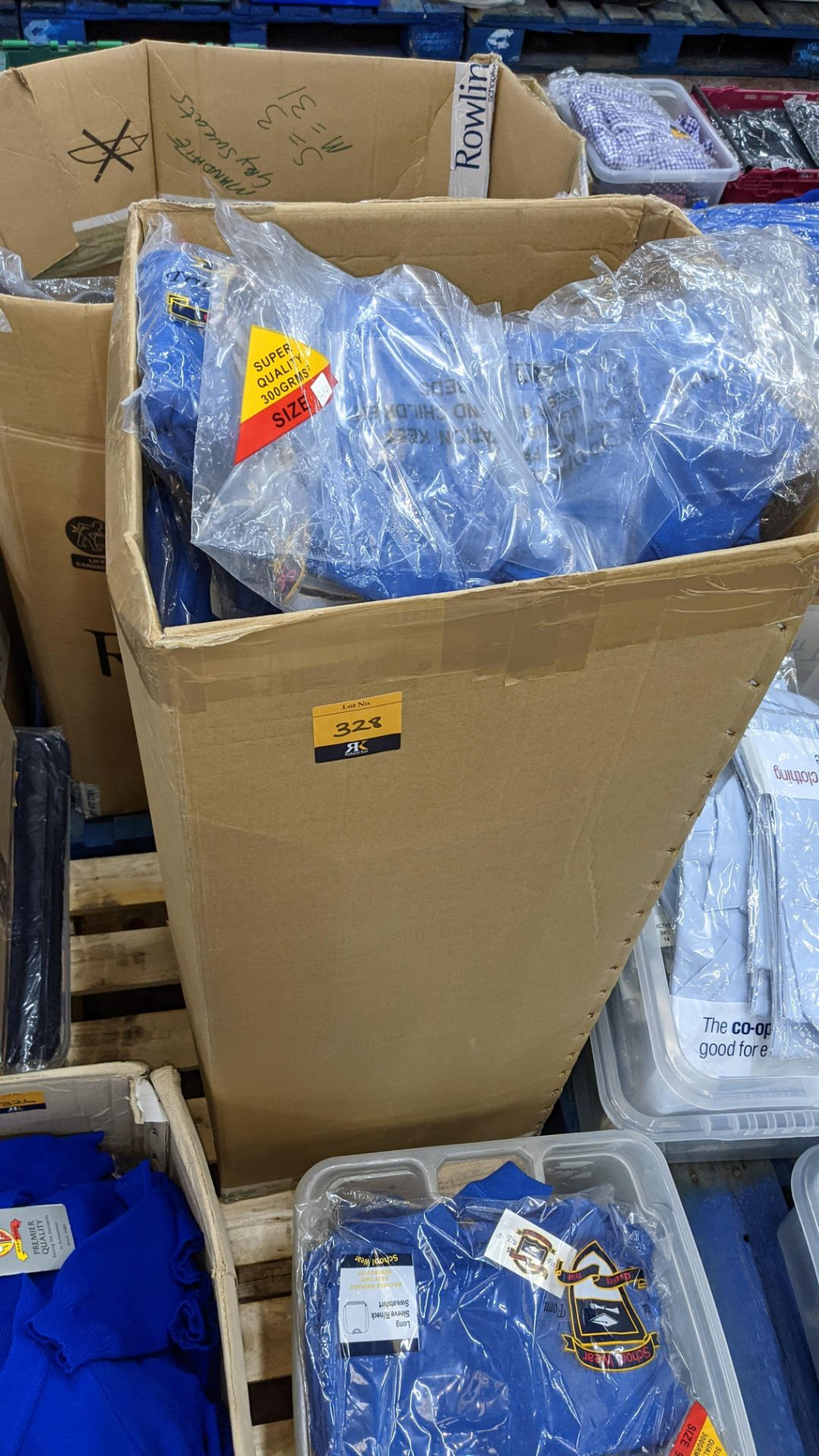 Approx 63 off blue children's sweatshirts - the contents of 1 tall box
