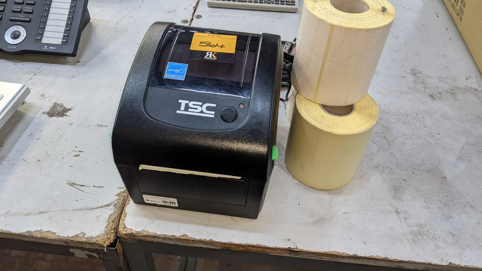 TSC label printer, model DA210 with power pack & reels of spare labels - Image 2 of 5