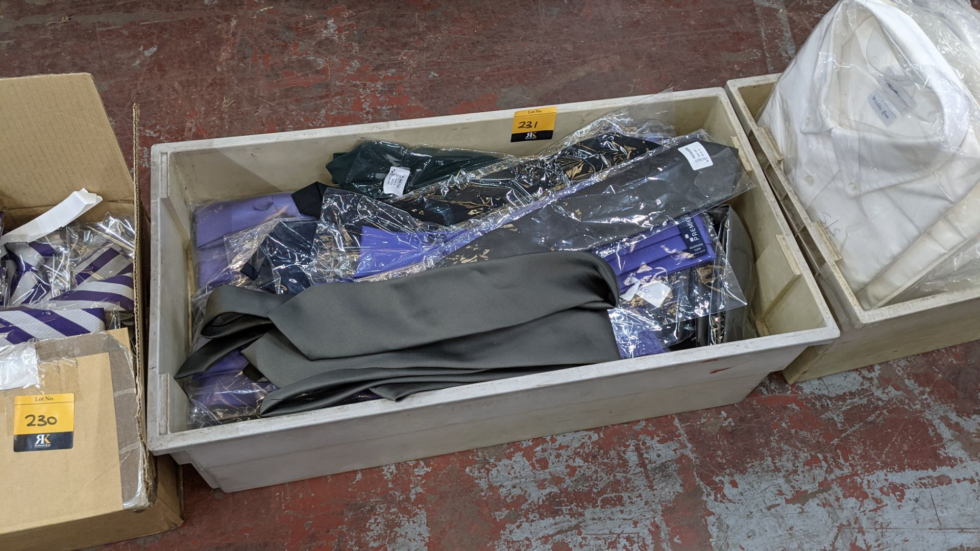 The contents of a crate of assorted ties. NB crate excluded