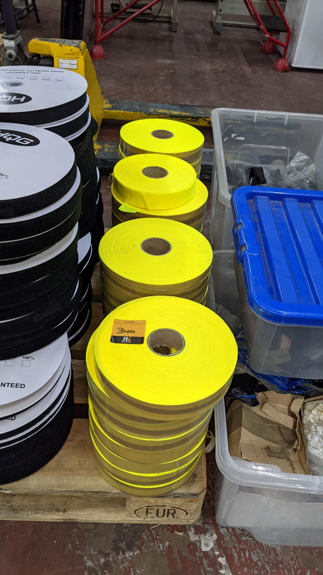 4 stacks of bright yellow tape/reflective material - Image 2 of 3