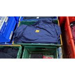 Approx 20 off assorted blue Fruit of the Loom tops comprising sweatshirts, polo shirts & t-shirts