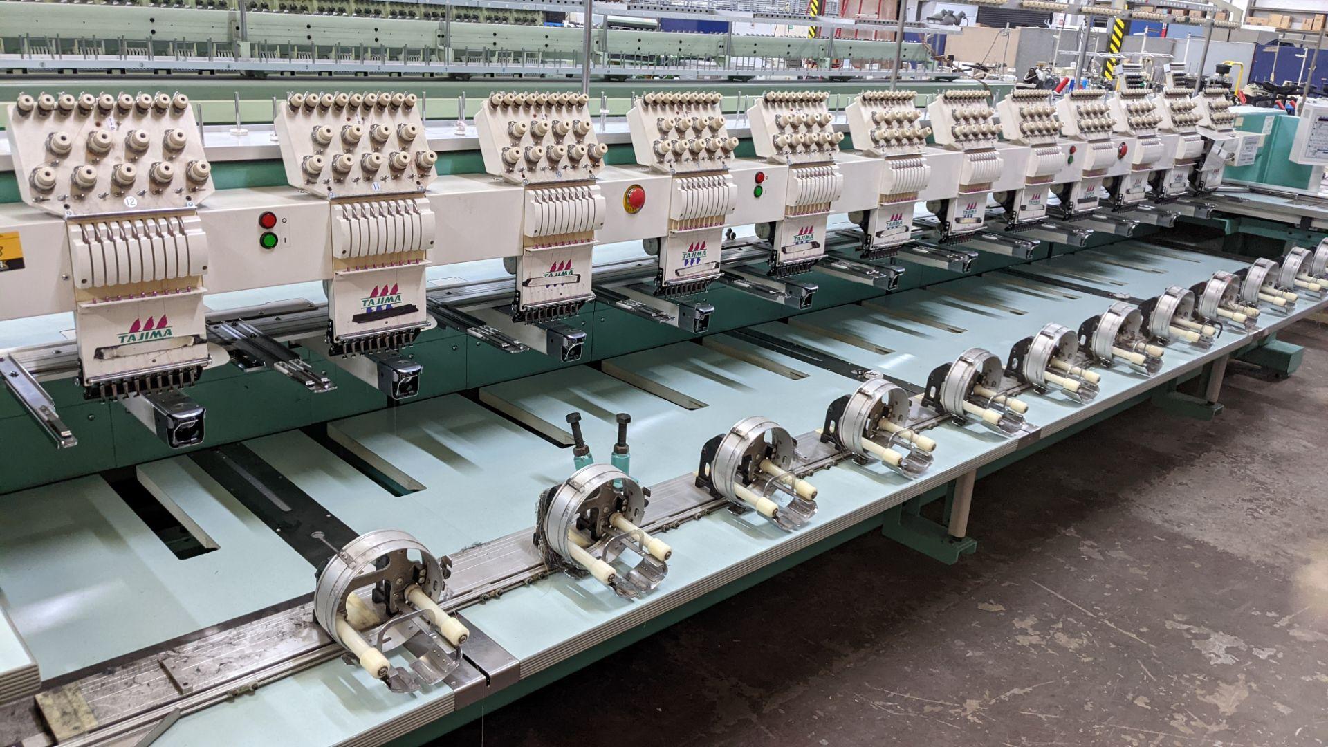 Tokai Tajima model TMFD-C912 electronic 12 head embroidery machine, type 2-2FX - Image 4 of 27