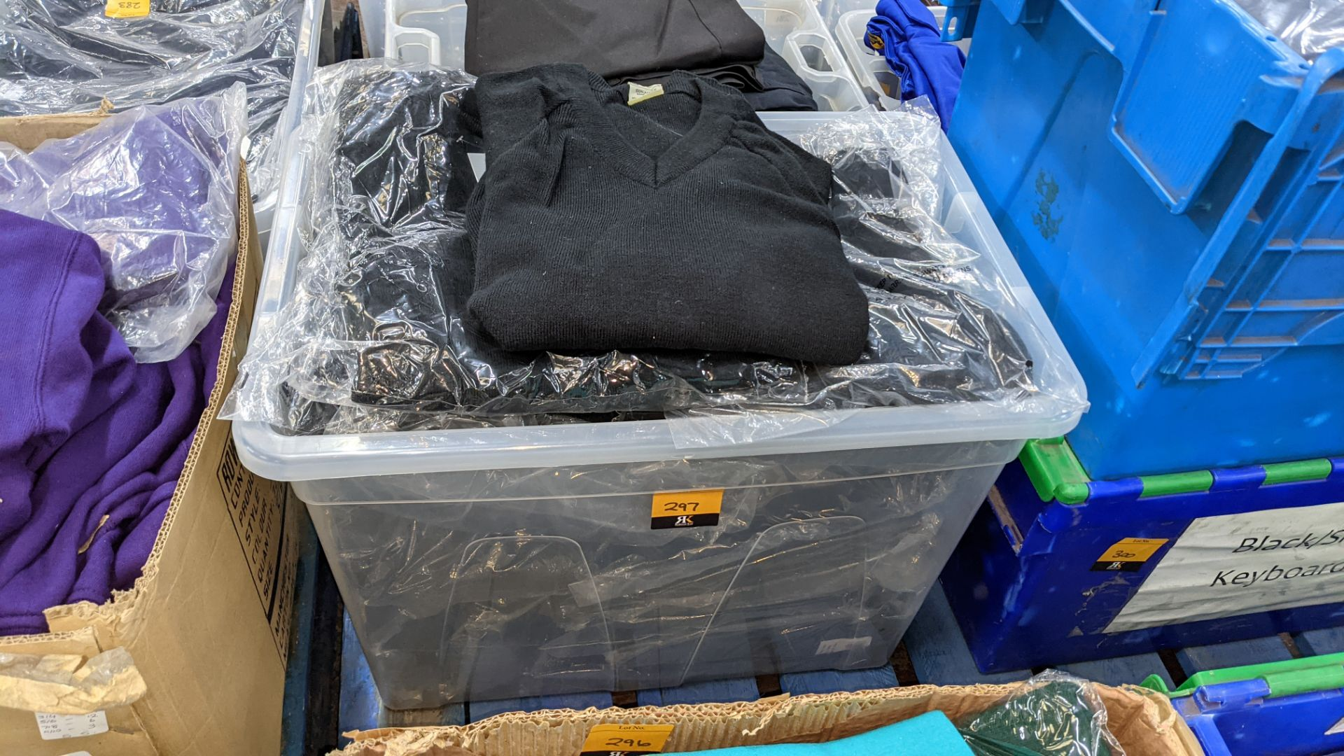 Approx 15 off children's black V neck jumpers - the contents of 1 large crate. NB crate excluded - Image 2 of 4