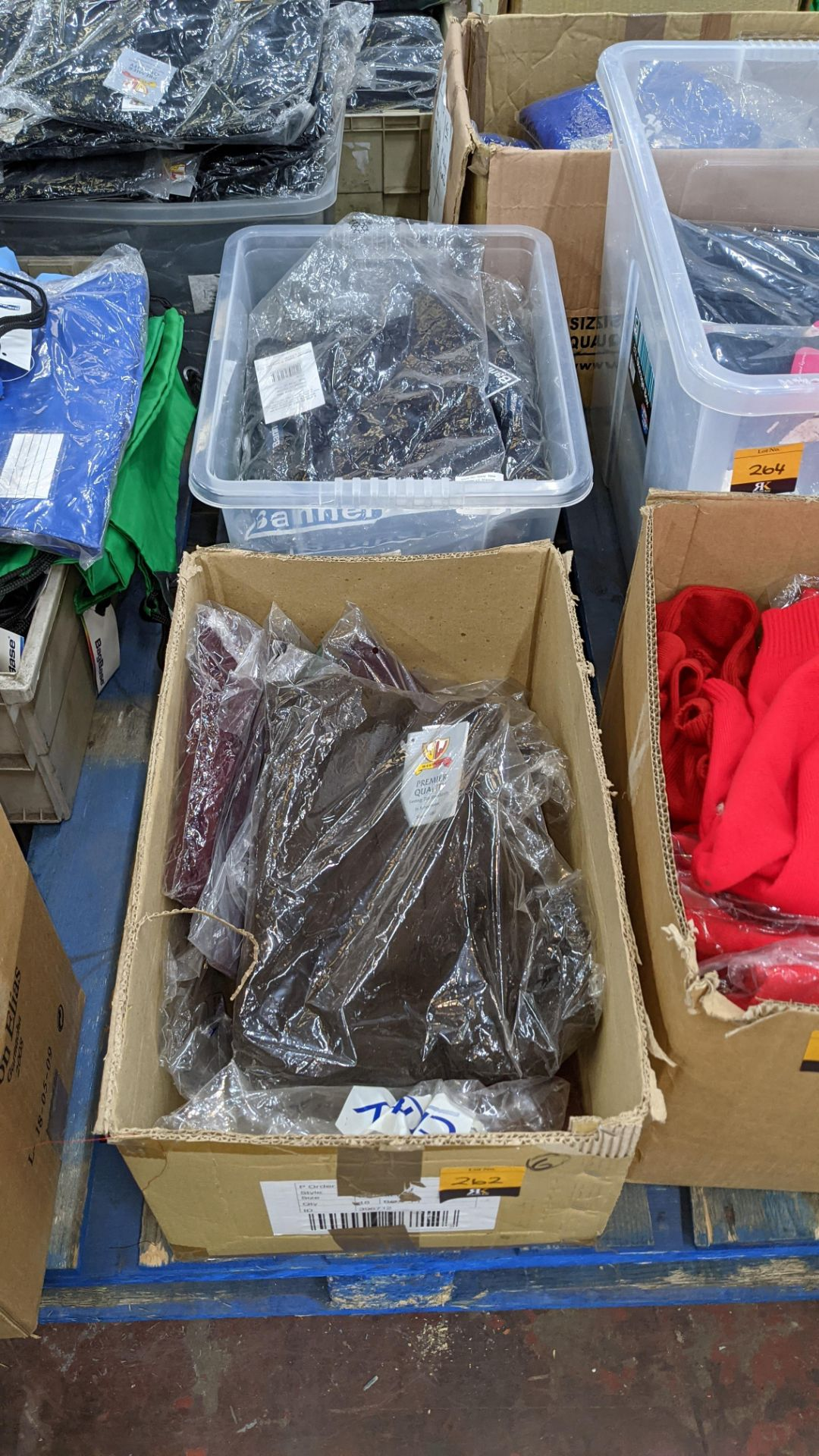 Quantity of assorted garments - the contents of 1 box & 1 crate. NB crate excluded