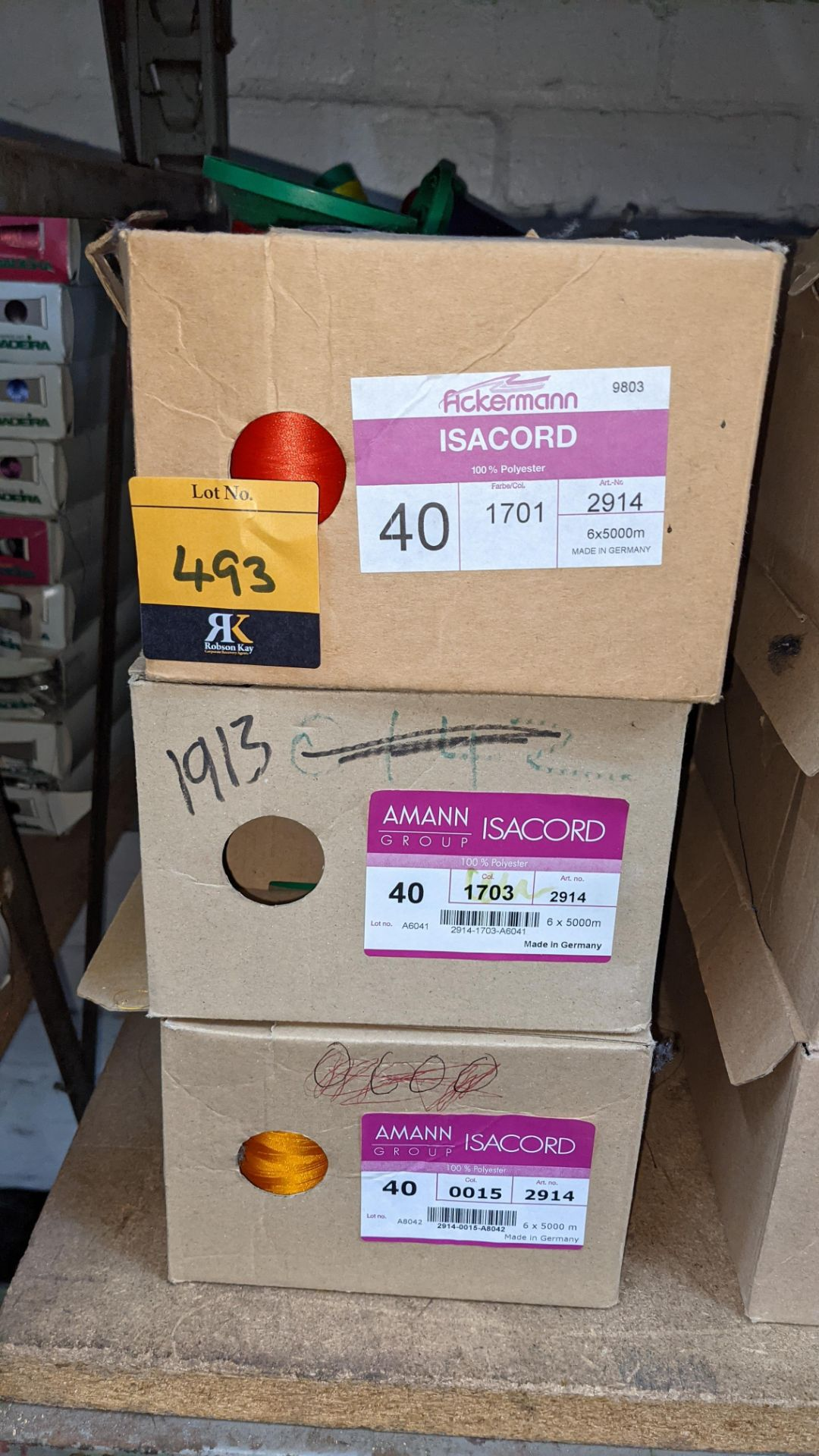 6 boxes of Ackermann & Amann Group Isacord polyester No. 40 embroidery thread - Image 3 of 5