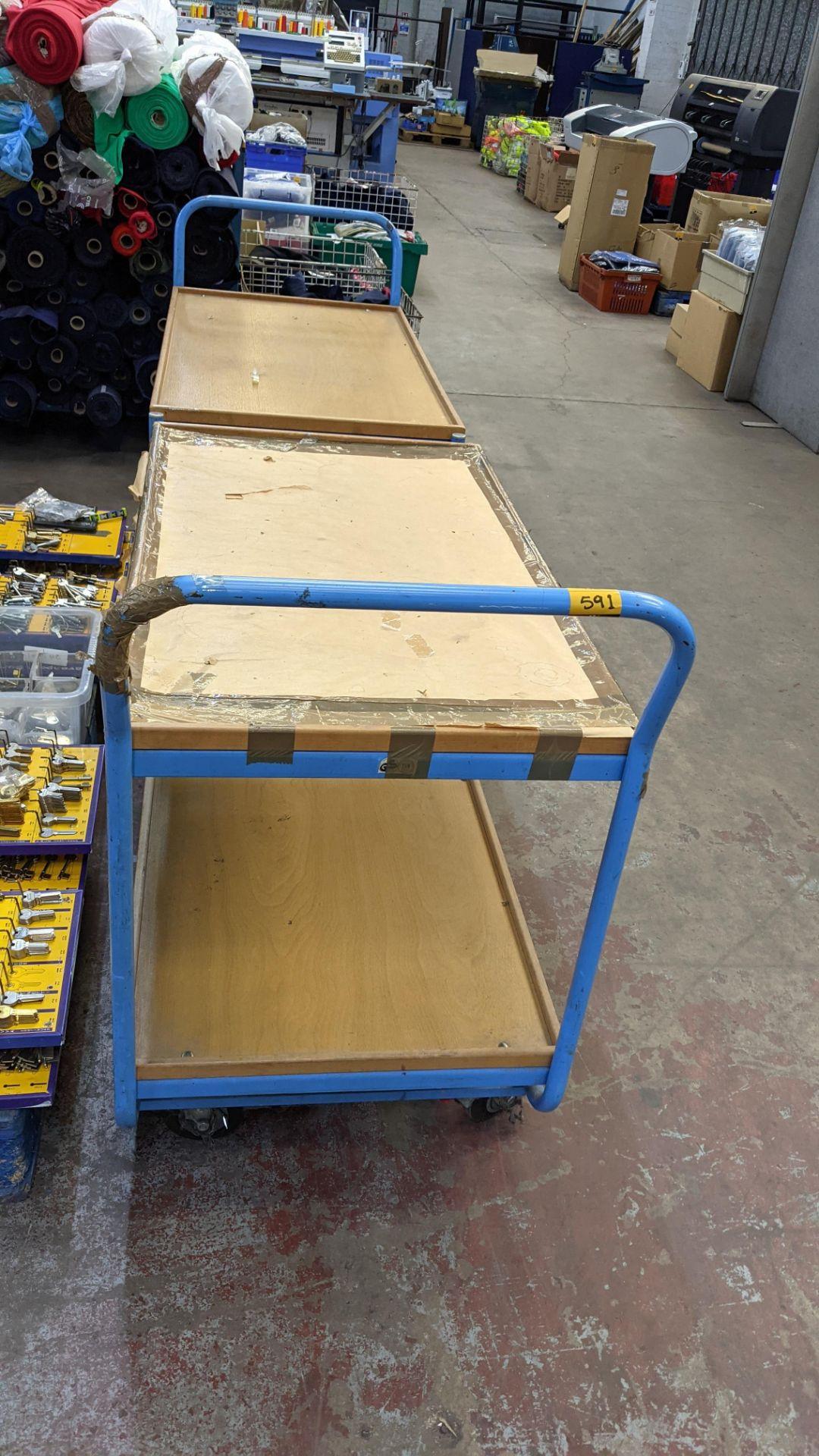 2 mobile twin shelf trolleys with lockable wheels - Image 4 of 7