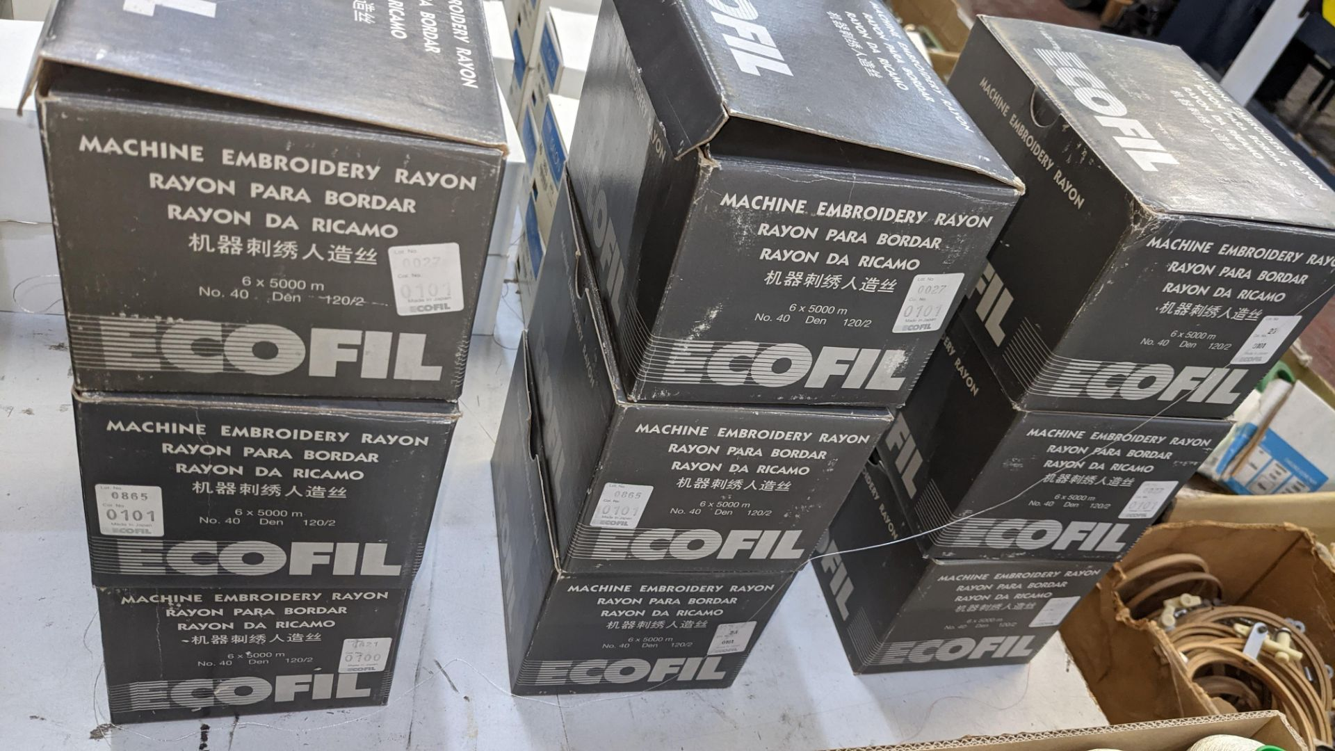 12 boxes of Ecofil rayon machine embroidery thread, all in white - Image 4 of 8