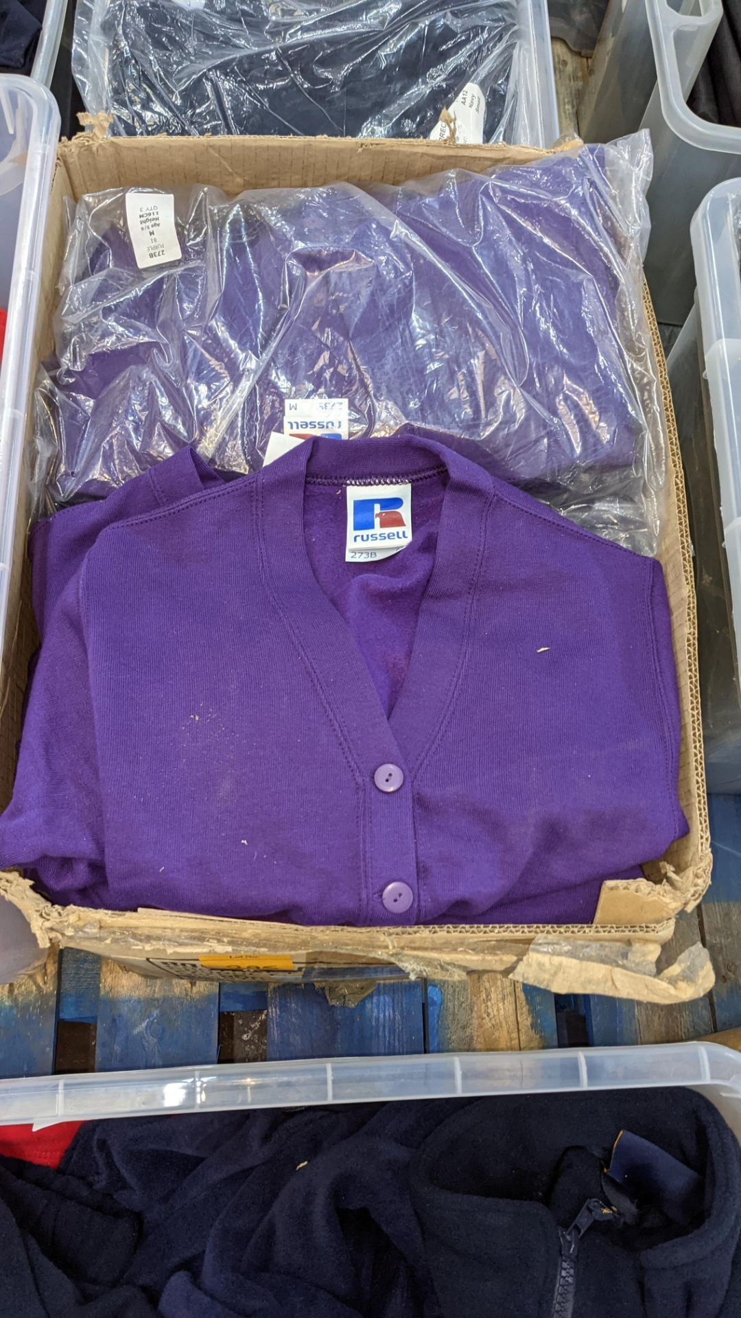 Quantity of Russell children's purple button up sweat tops - 1 large box - Image 2 of 4