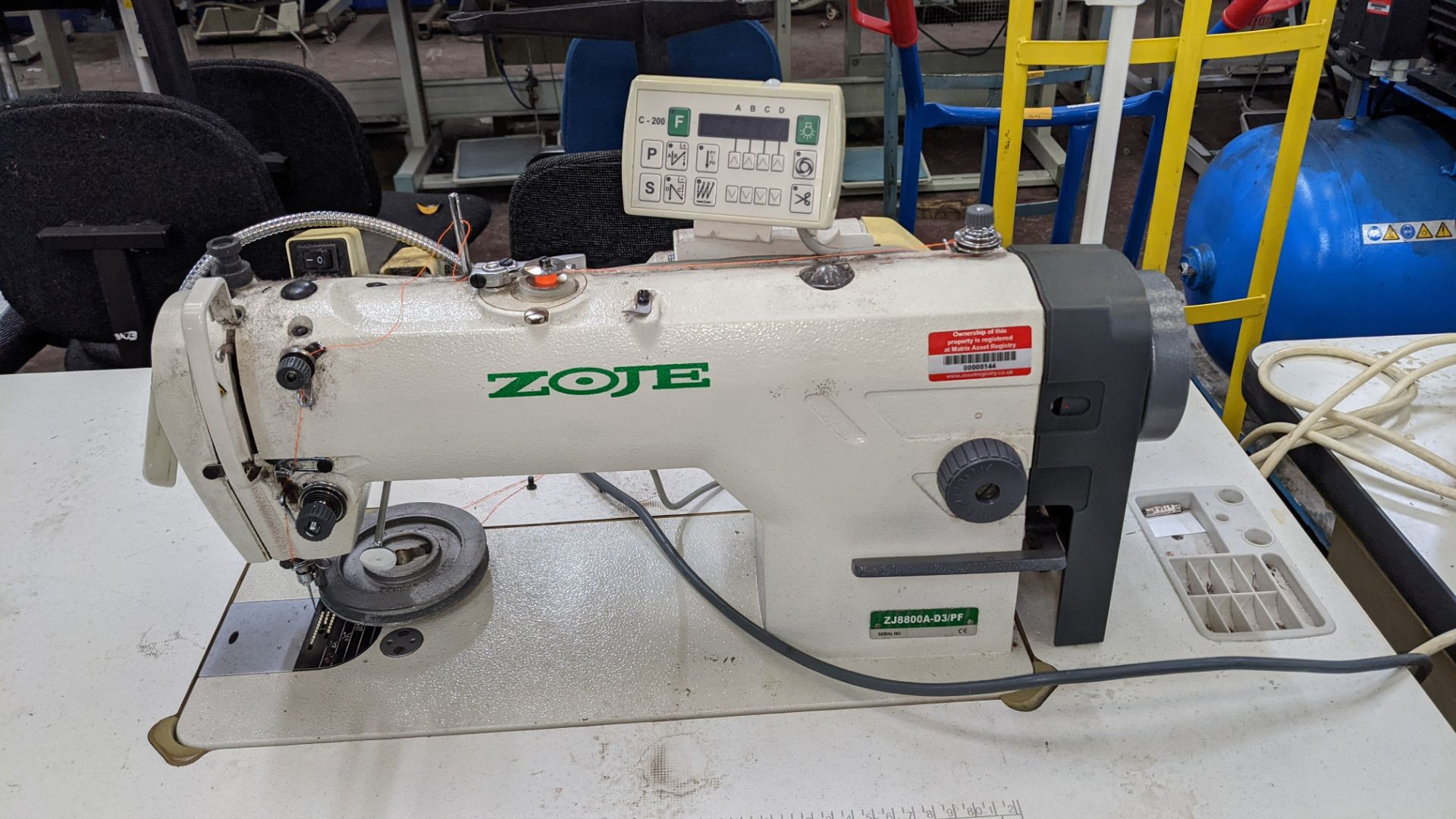 Zoje model ZJ8800A-D3B/PF sewing machine with C-200 controller - Image 6 of 16
