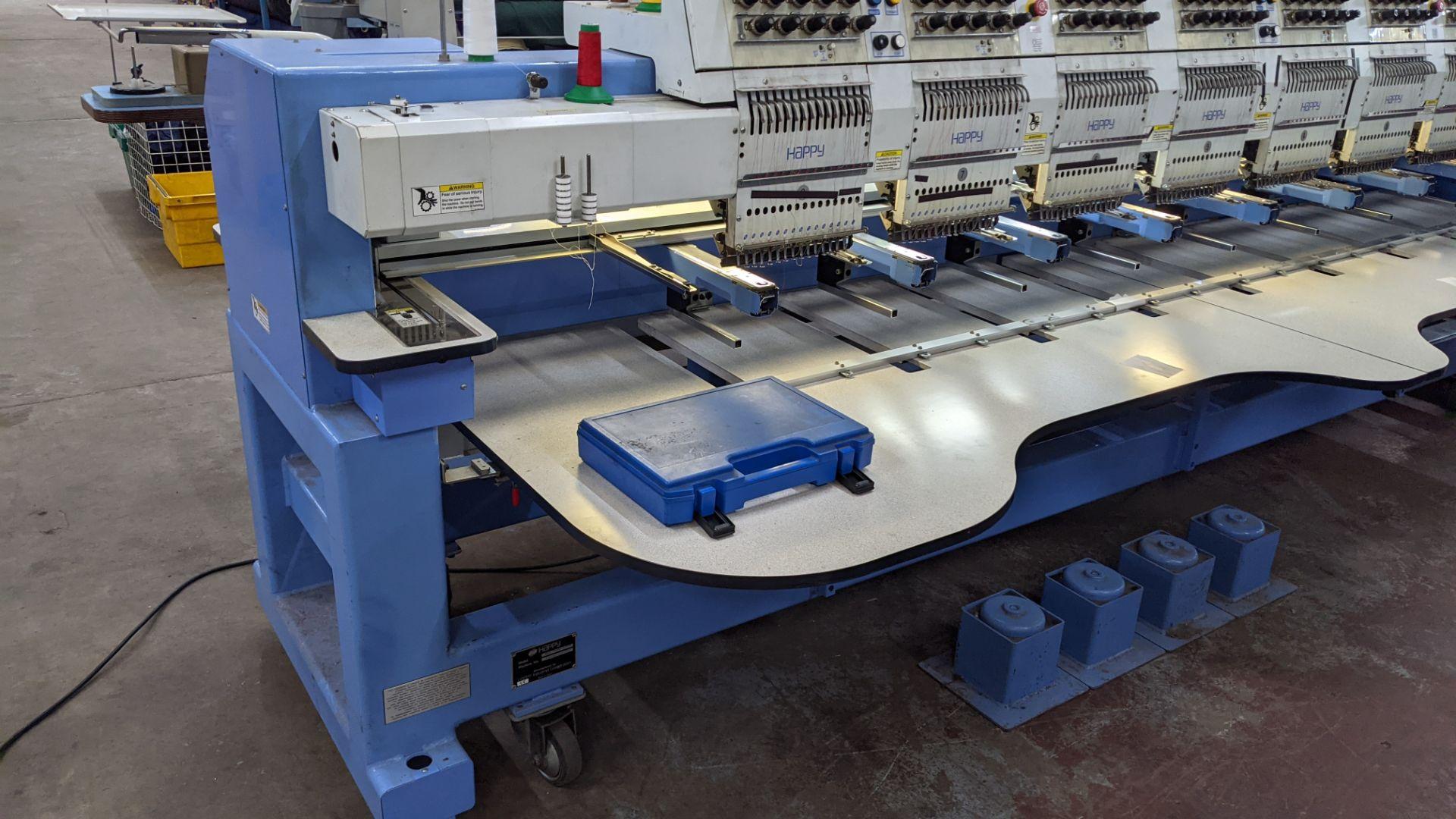 Happy 8 head embroidery machine, model HCG-1508B-45TTC, 15 needles per head, including frames & othe - Image 5 of 32