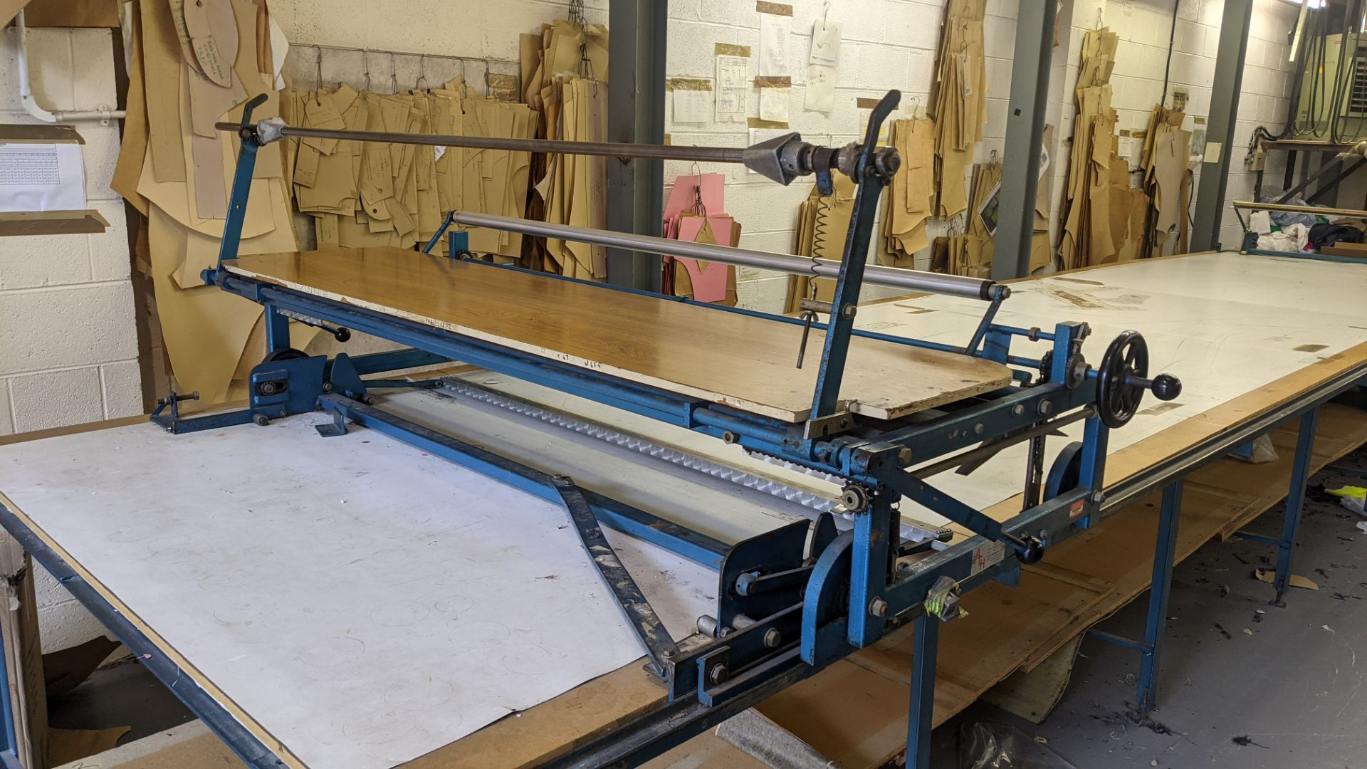 Large cutting table, as shown in 3 stacks. Please note photos taken in situ before the table was de - Image 4 of 16