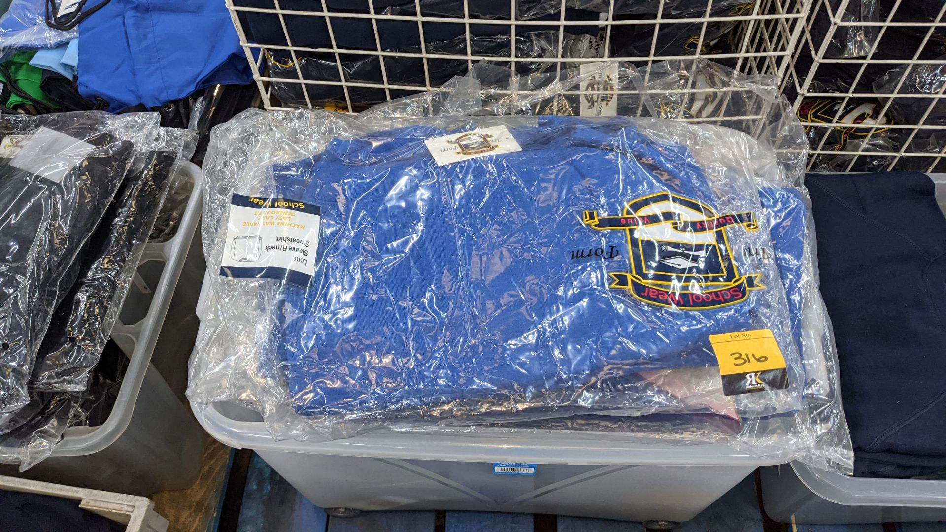 Approx 23 off blue children's sweatshirts & similar - the contents of 1 crate. NB crate excluded - Image 3 of 6