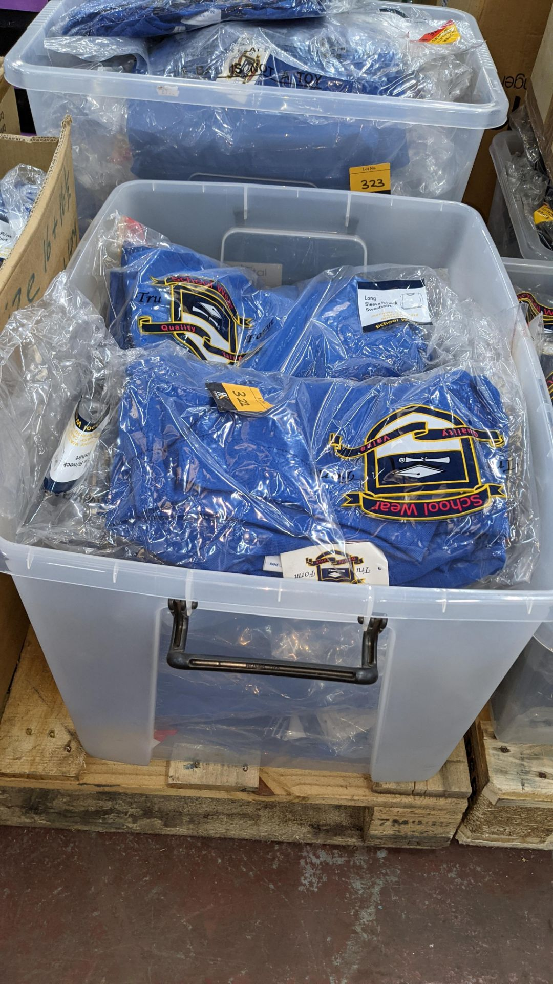 Approx 27 off blue children's sweatshirts & similar - the contents of 1 crate. NB crate excluded - Image 2 of 4