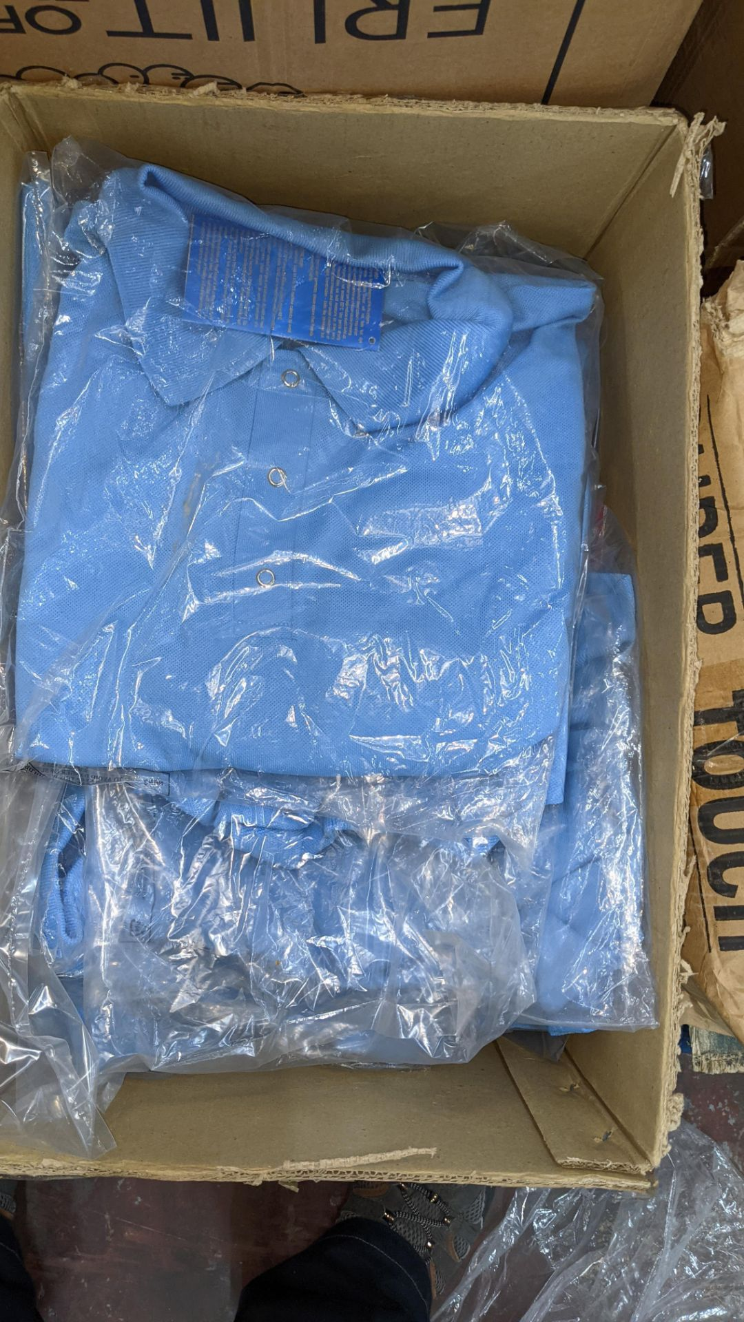 Approx 10 off pale blue polo shirts - 1 box - Image 3 of 5