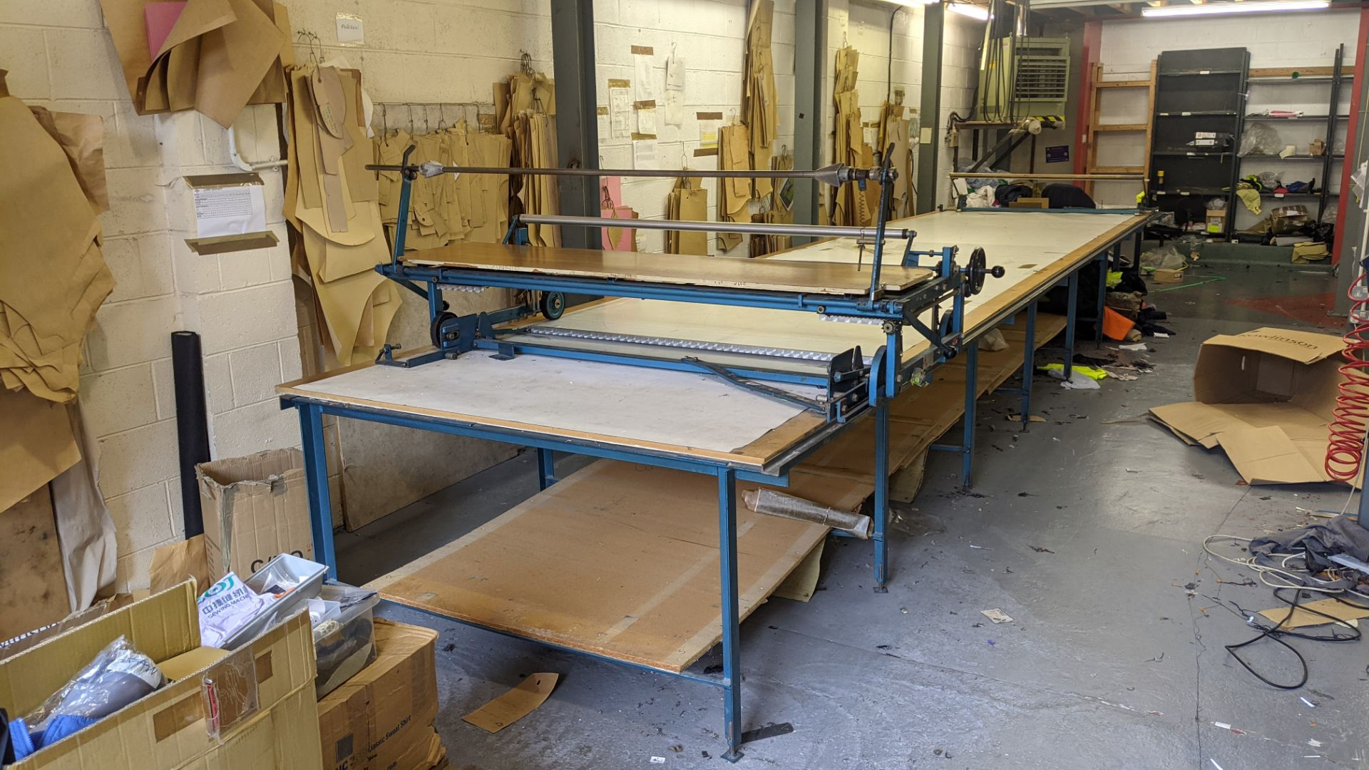 Large cutting table, as shown in 3 stacks. Please note photos taken in situ before the table was de - Image 3 of 16