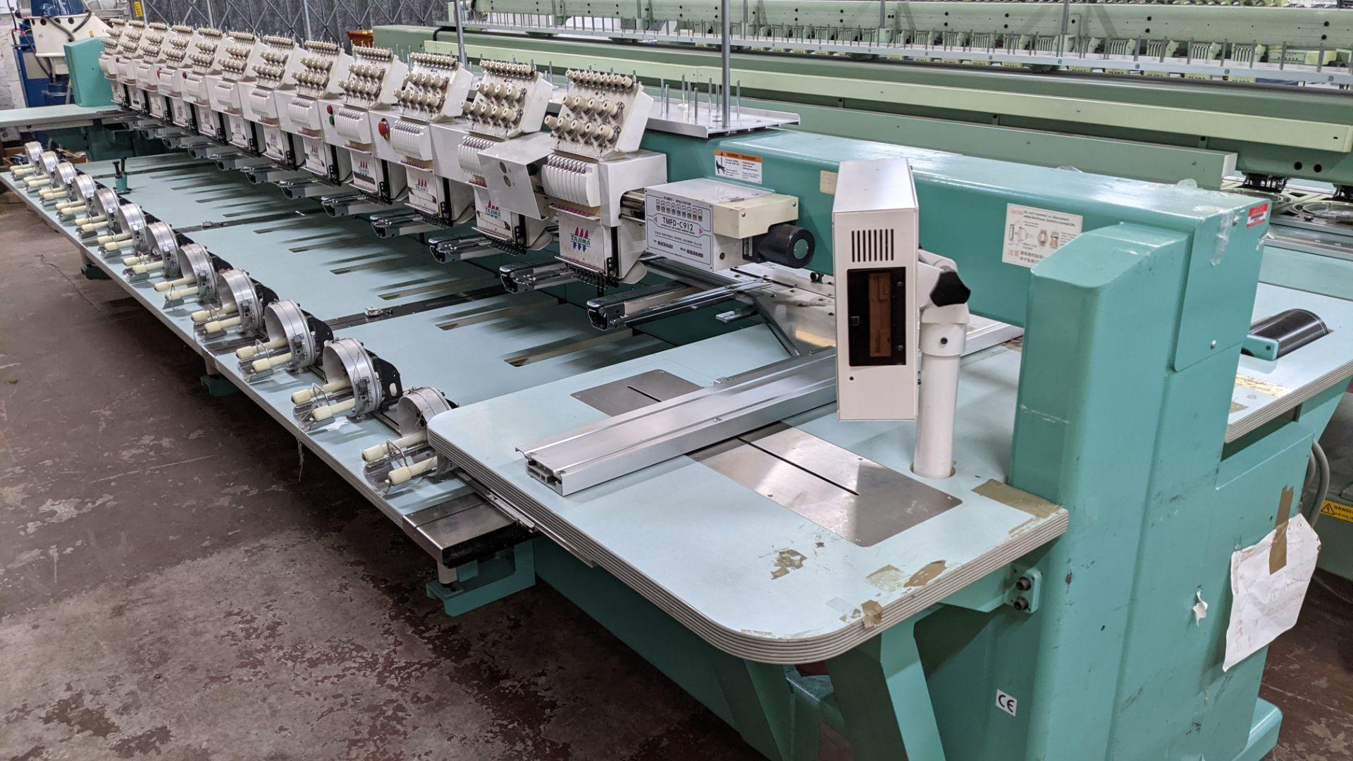 Tokai Tajima model TMFD-C912 electronic 12 head embroidery machine, type 2-2FX - Image 10 of 27