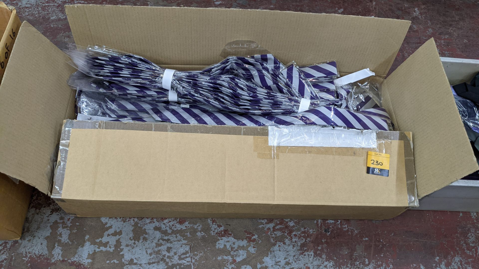 Box of purple & silver striped ties - Image 2 of 3