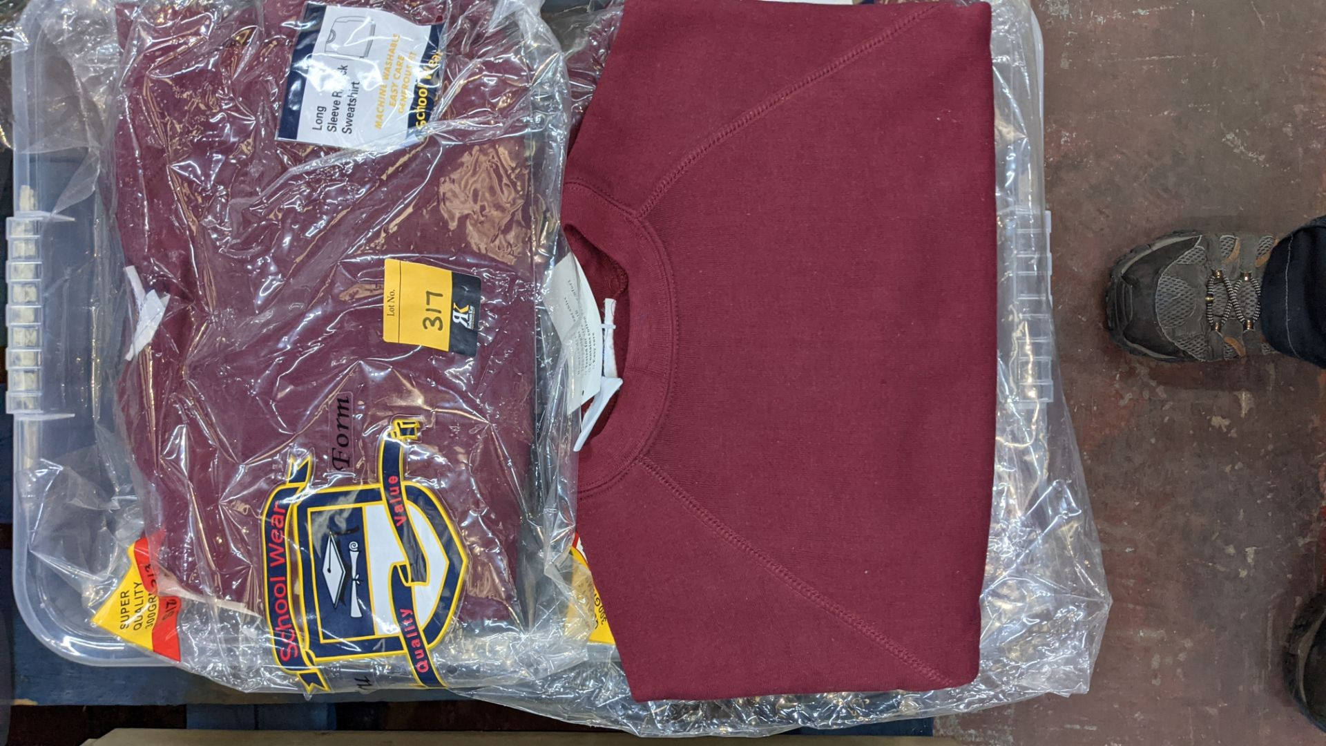 Approx 20 off burgundy children's sweatshirts & similar - the contents of 1 crate. NB crate exclude - Image 3 of 5