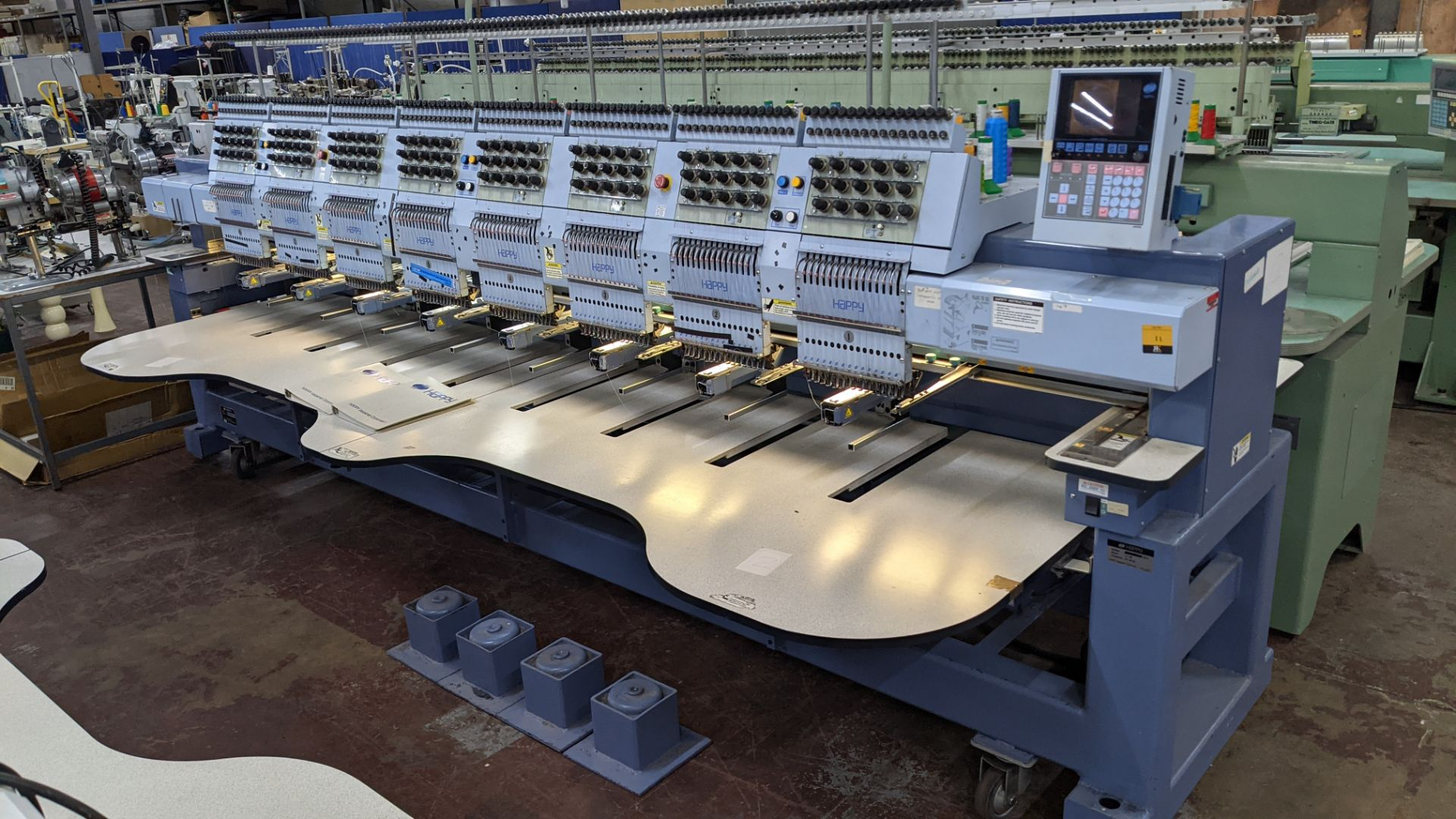 Happy 8 head embroidery machine, model HCG-1508-45TTC, 15 needles per head, including frames & other