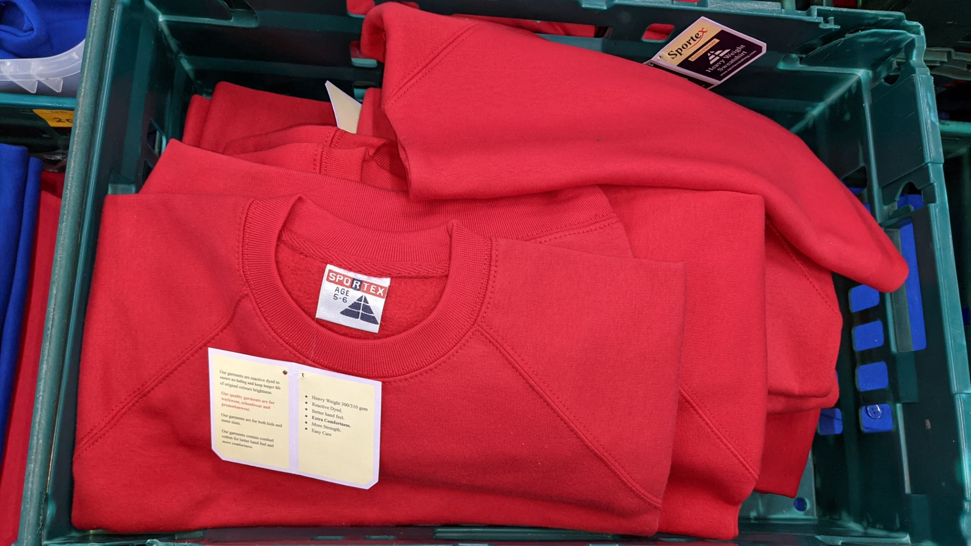 Approx 25 off Sportex children's assorted sweatshirts - the contents of 2 crates. NB crates exclude - Image 3 of 4