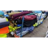 The contents of a large stillage of fabric including quantity of high visibility cloth. Please note
