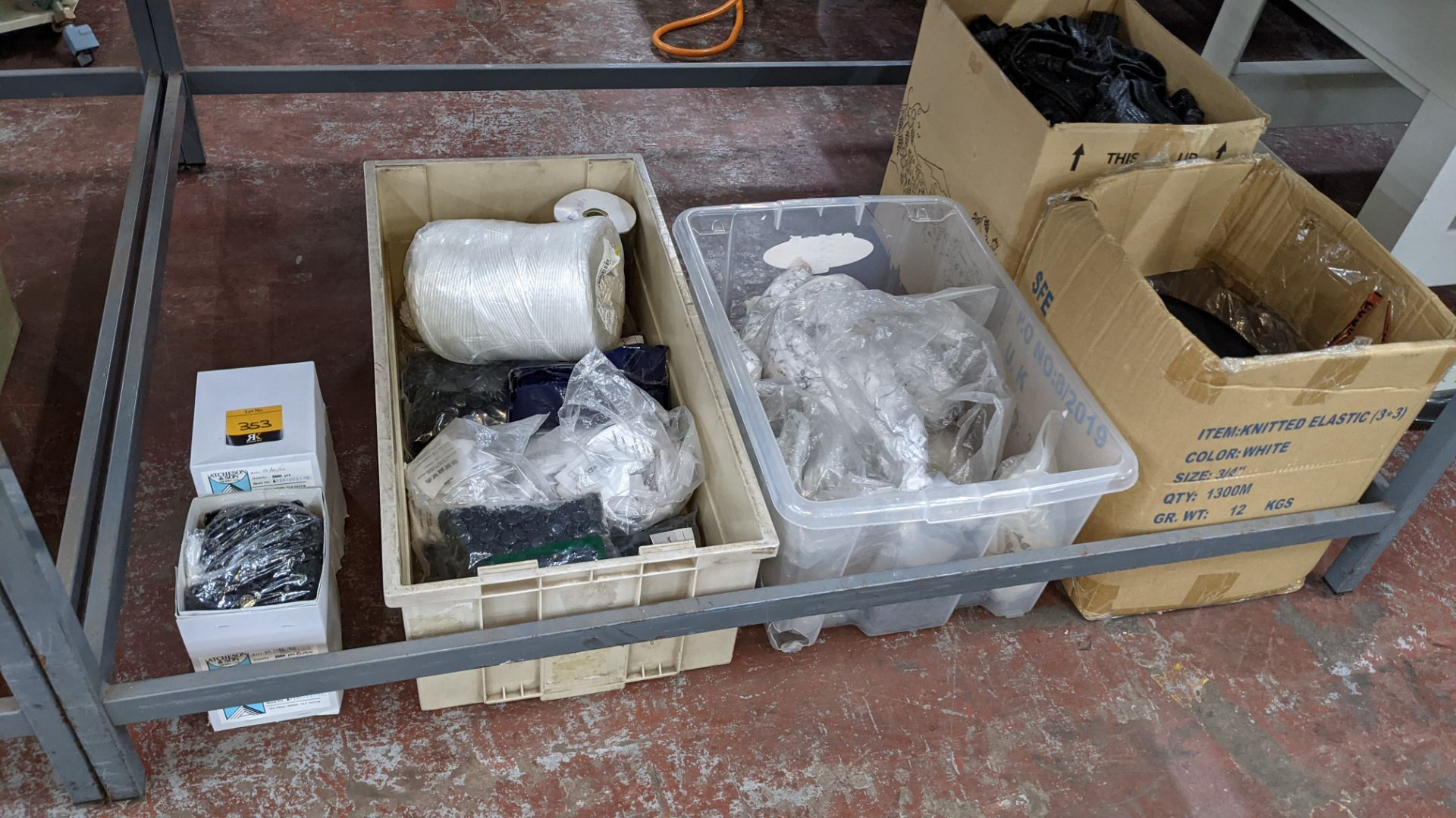 Large quantity of assorted buttons, tape, trim, badging & more - the contents of 2 boxes, 2 crates &