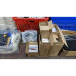 Large box of snappy bags plus small box of document labelling envelopes & 2 boxes of coiled curtain