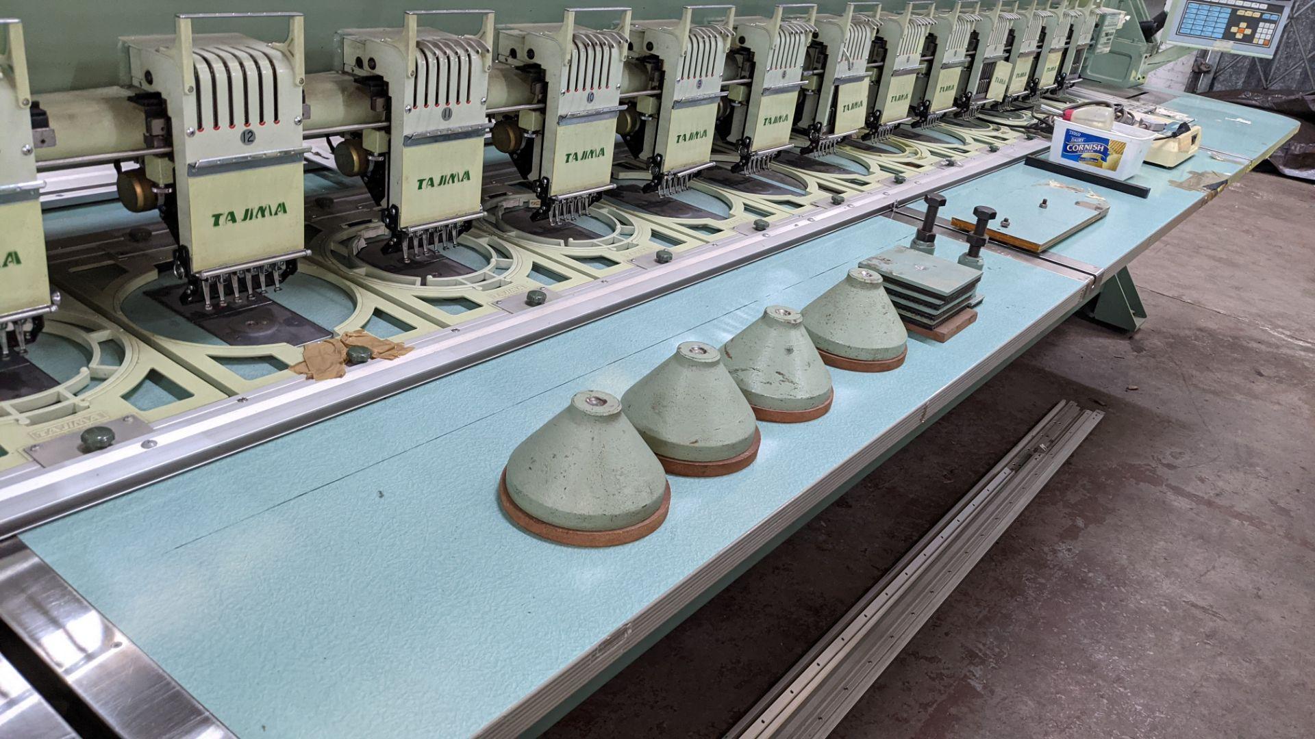 Tokai Tajima electronic 20 head automatic embroidery machine model TMEG-G620, manufacturing number 7 - Image 12 of 19