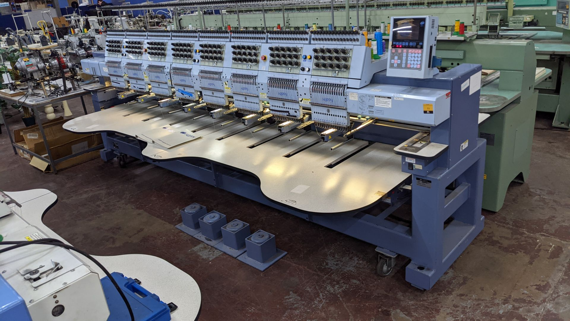 Happy 8 head embroidery machine, model HCG-1508-45TTC, 15 needles per head, including frames & other - Image 3 of 27