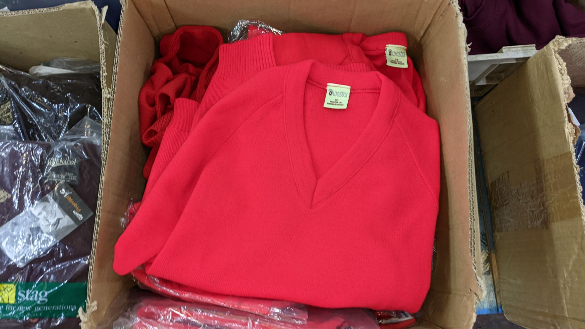 Approx 17 off children's red knitted tops - the contents of 1 box - Image 3 of 4