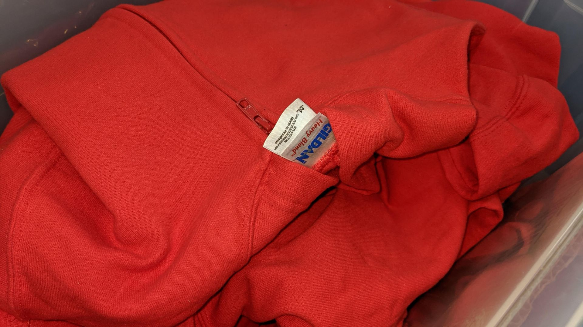 Approx 7 off children's zip up red hooded tops - the contents of 1 large crate. NB crate excluded - Image 3 of 4