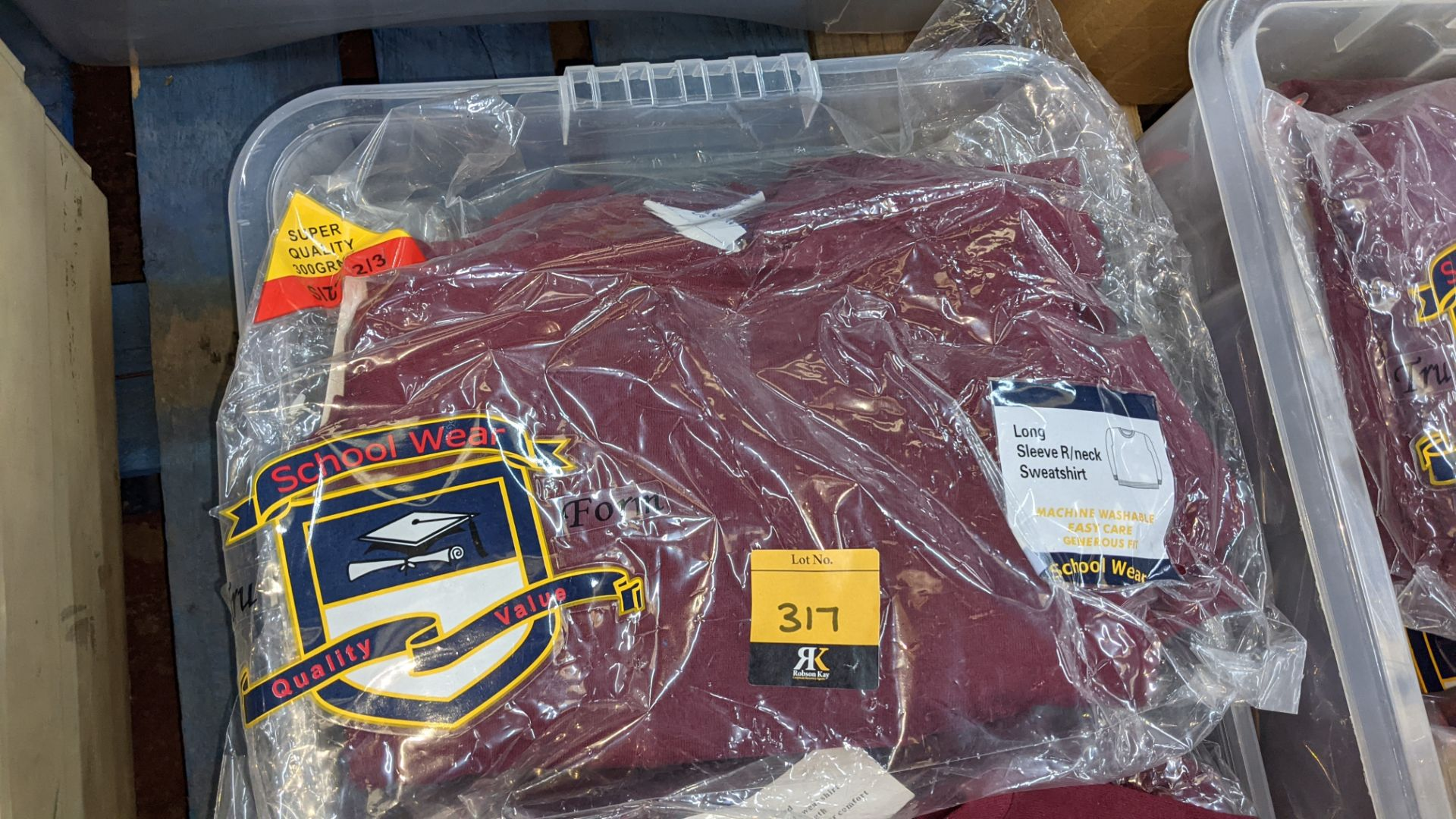 Approx 20 off burgundy children's sweatshirts & similar - the contents of 1 crate. NB crate exclude - Image 4 of 5