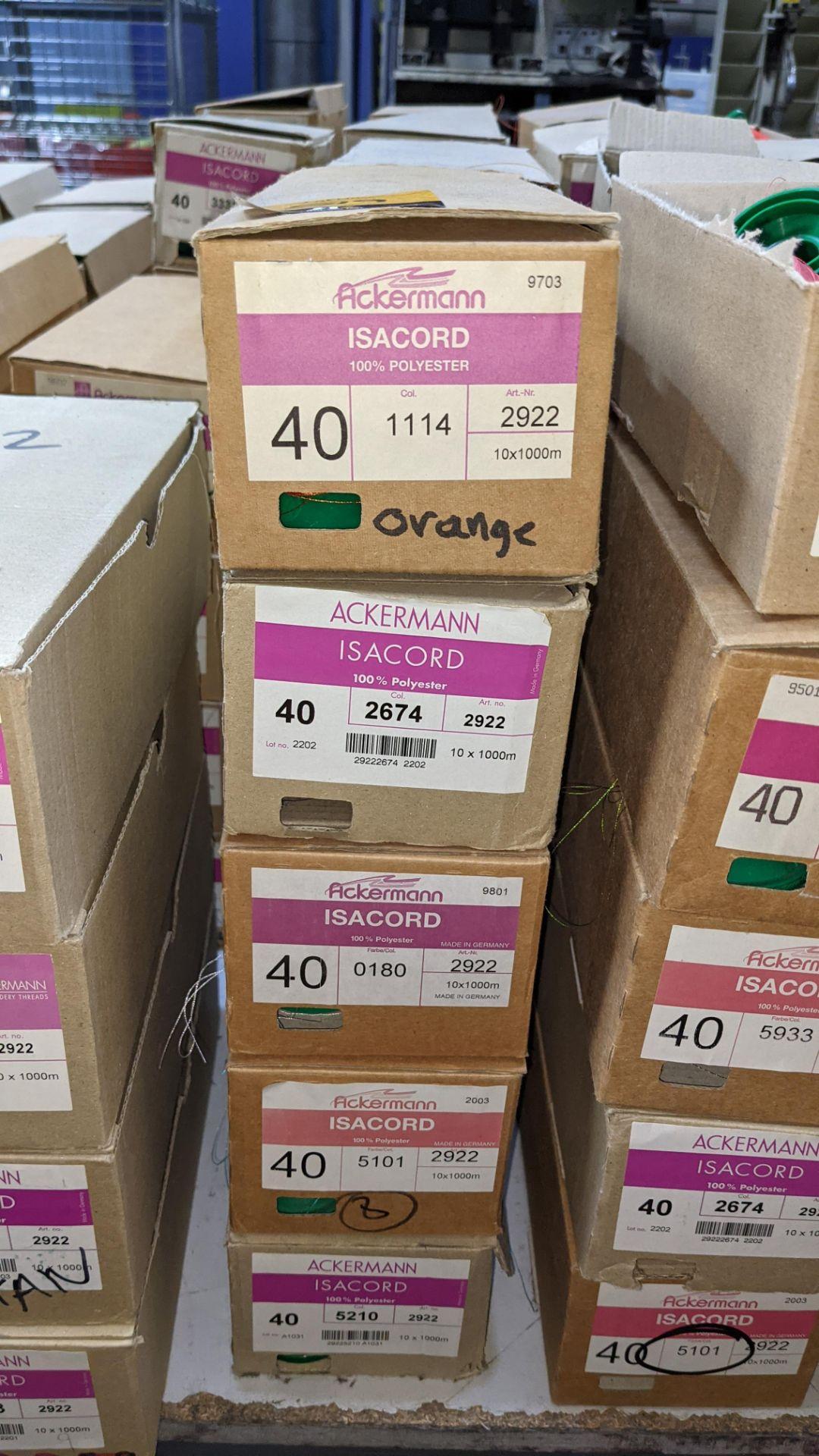 20 boxes of Ackermann Isacord (40) polyester thread - Image 3 of 9