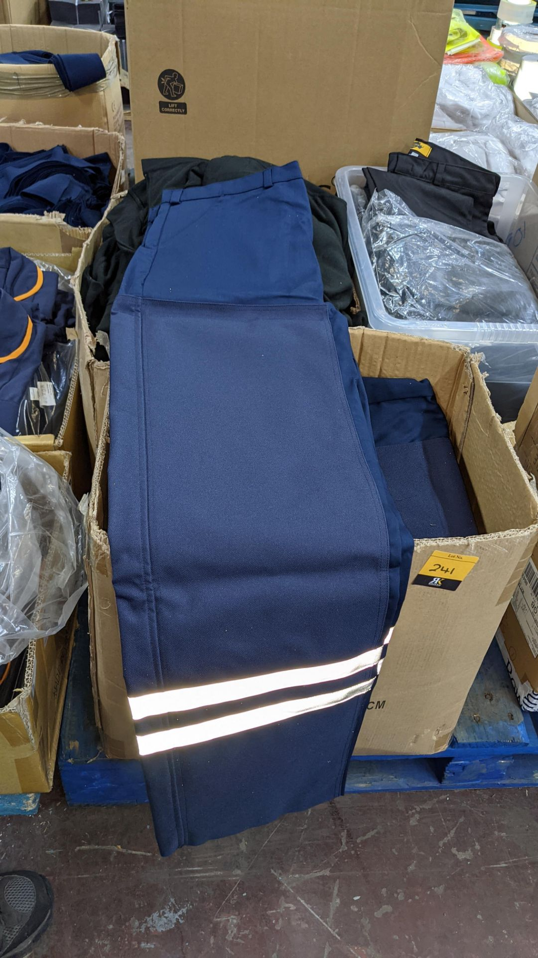 Box of blue work trousers with silver stripes - Image 3 of 5