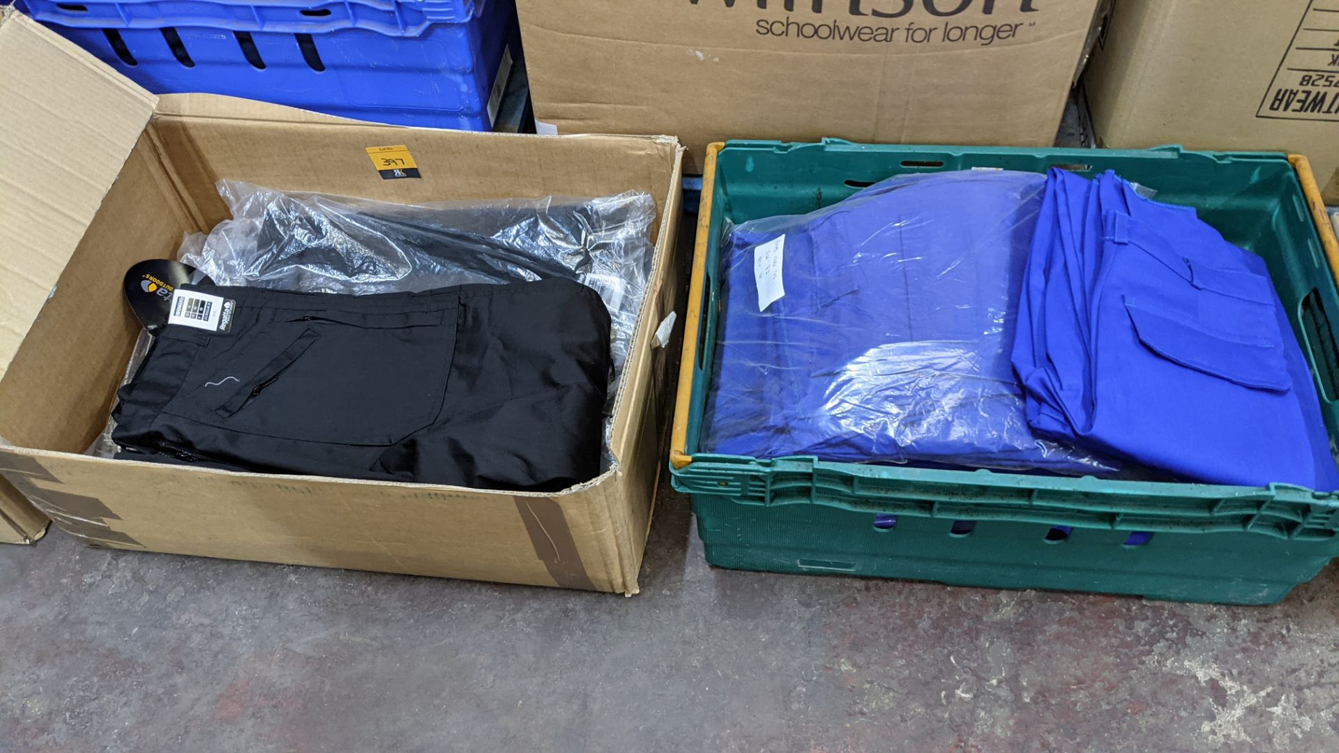 Quantity of black & blue trousers comprising the contents of 1 box & 1 crate - Image 3 of 8