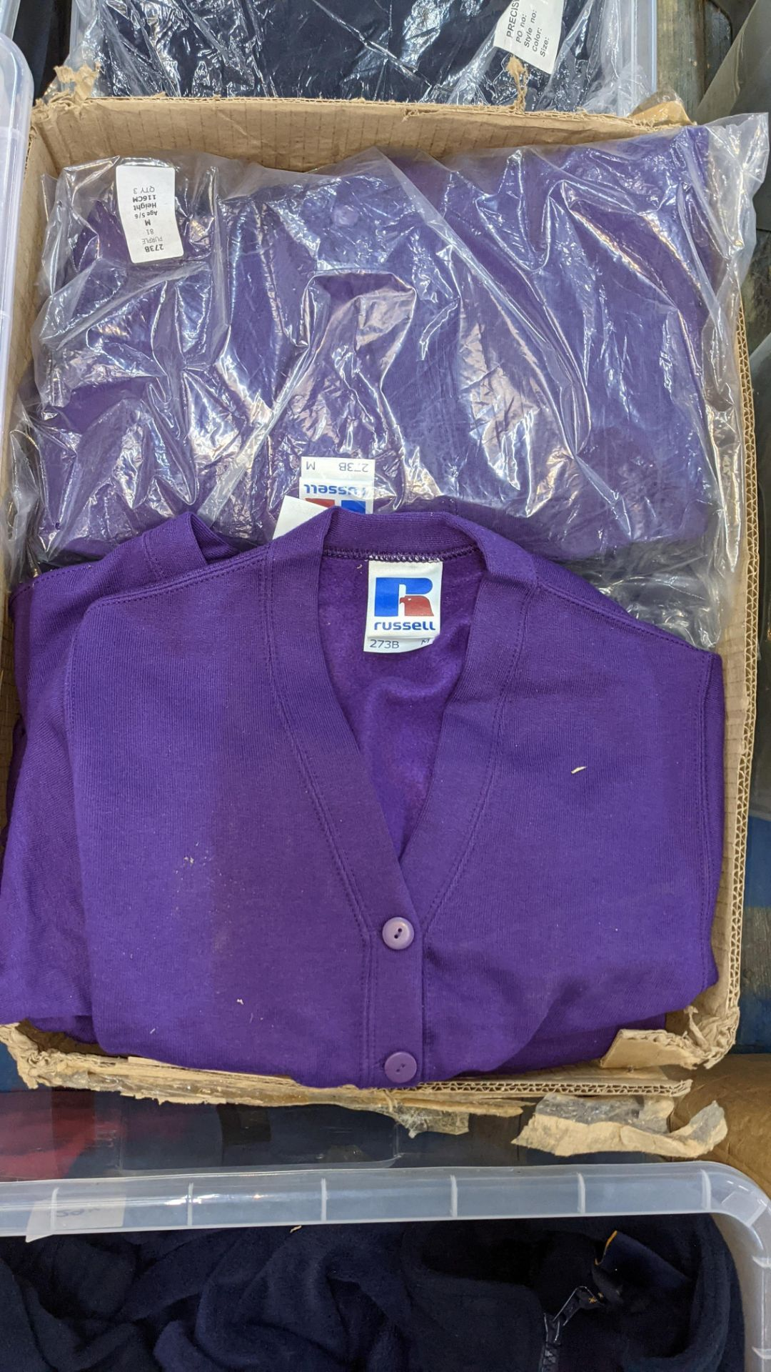 Quantity of Russell children's purple button up sweat tops - 1 large box - Image 3 of 4