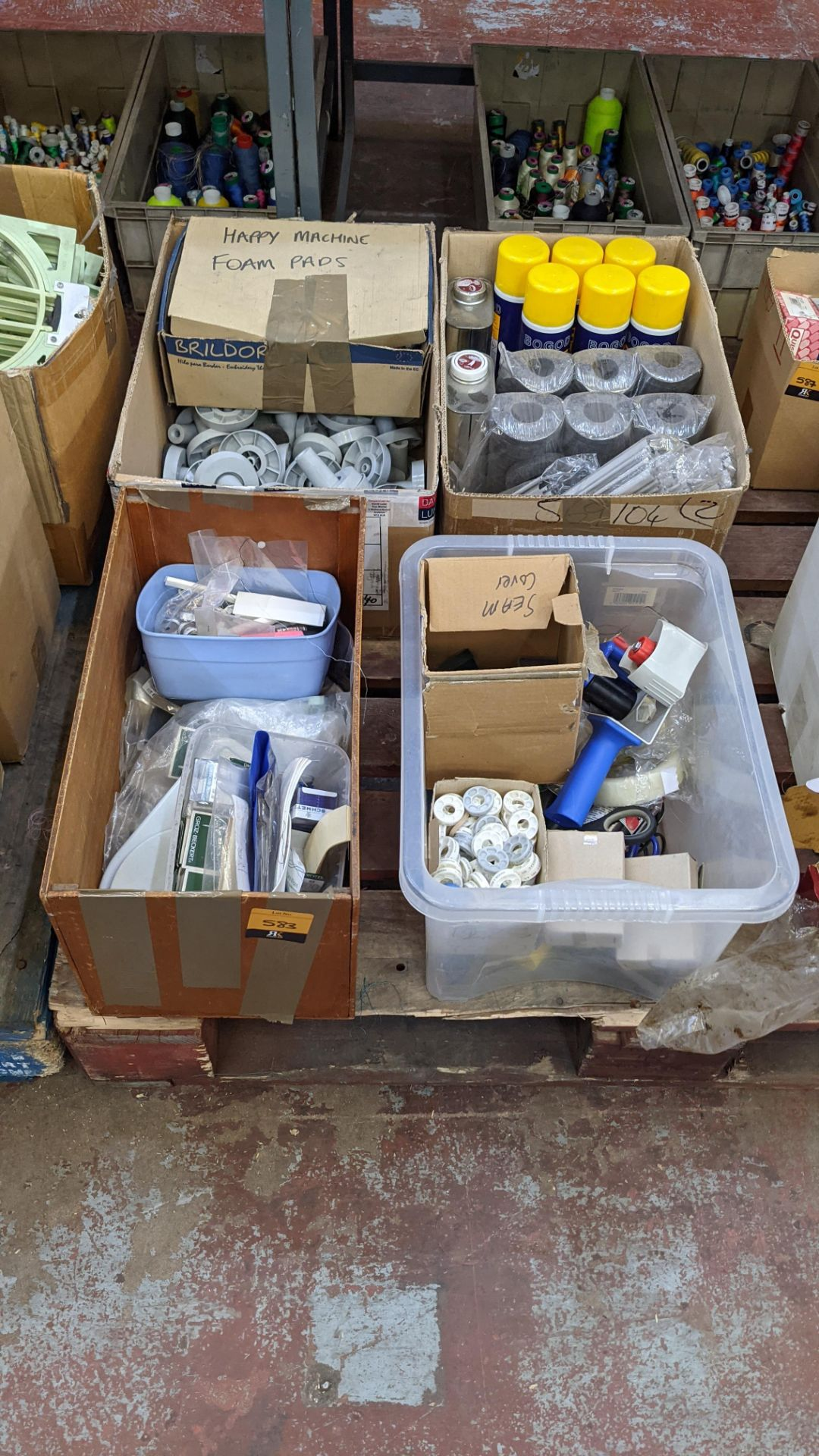4 boxes/crates of assorted textile machinery related spares, cleaning solutions, lubricants & more - Image 2 of 6