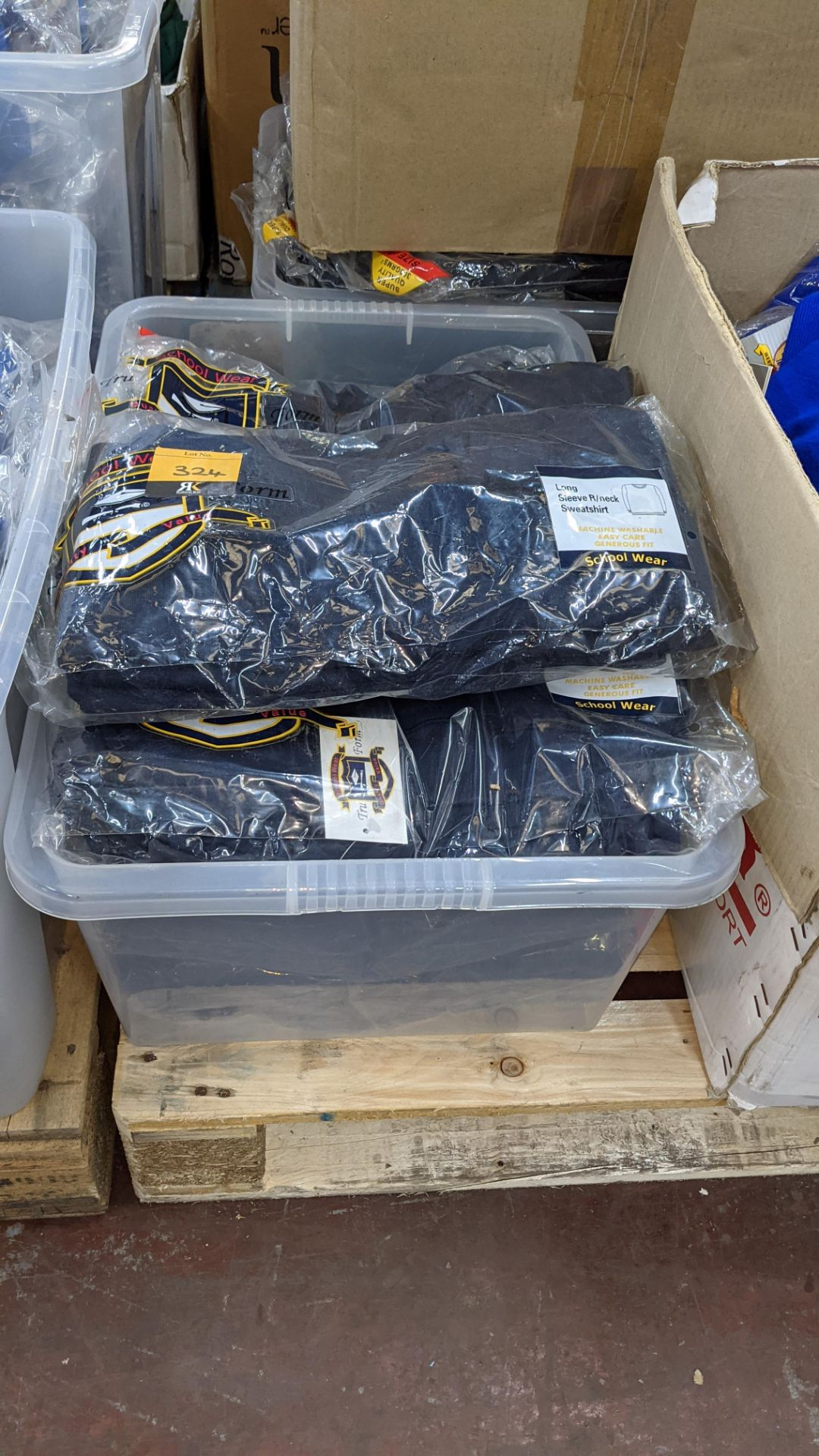 Approx 27 off navy long sleeve children's sweatshirts - the contents of 1 crate. NB crate excluded - Image 2 of 4