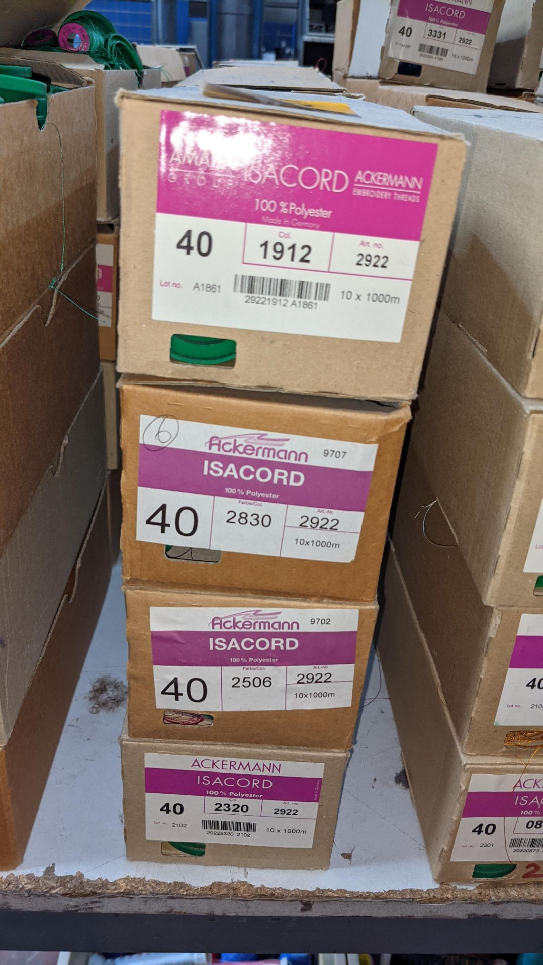 16 boxes of Ackermann Isacord (40) polyester thread - Image 3 of 9