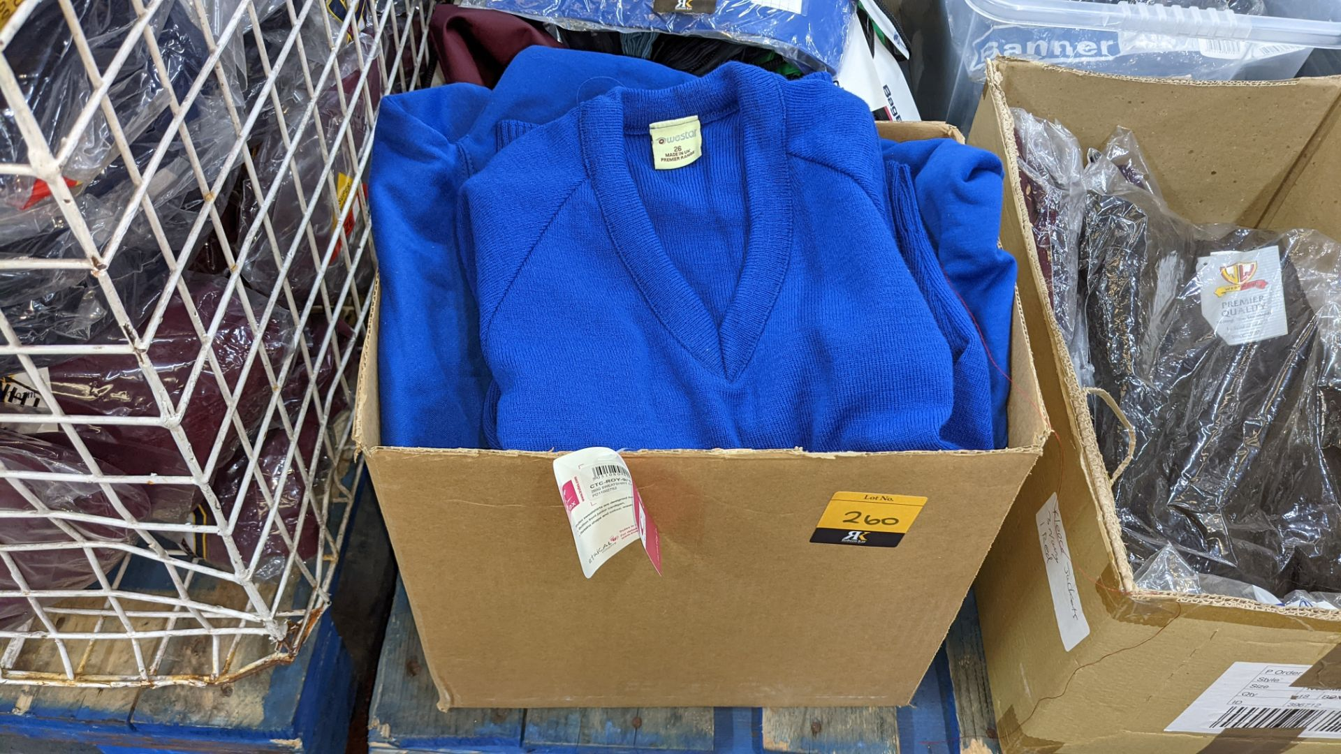 Box of blue V neck children's sweatshirts & button up tops - Image 2 of 4