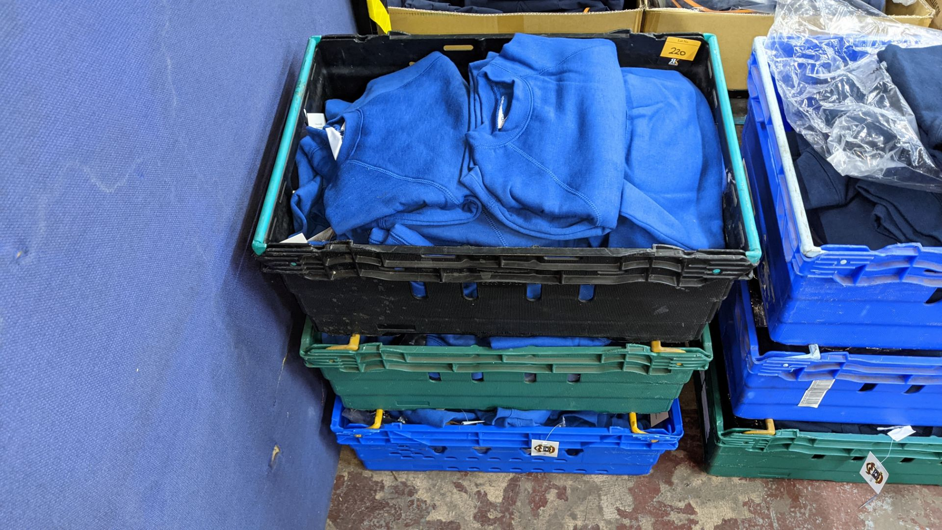 Approx 58 off children's blue sweatshirts - the contents of 3 crates. NB crates excluded