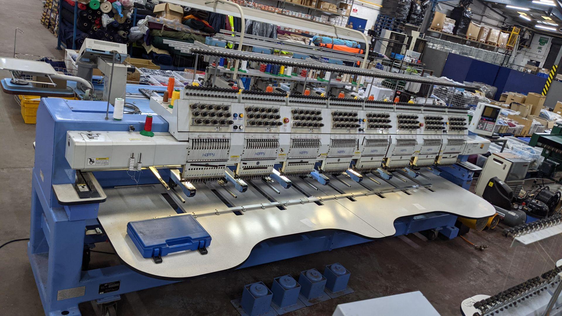 Happy 8 head embroidery machine, model HCG-1508B-45TTC, 15 needles per head, including frames & othe - Image 3 of 32