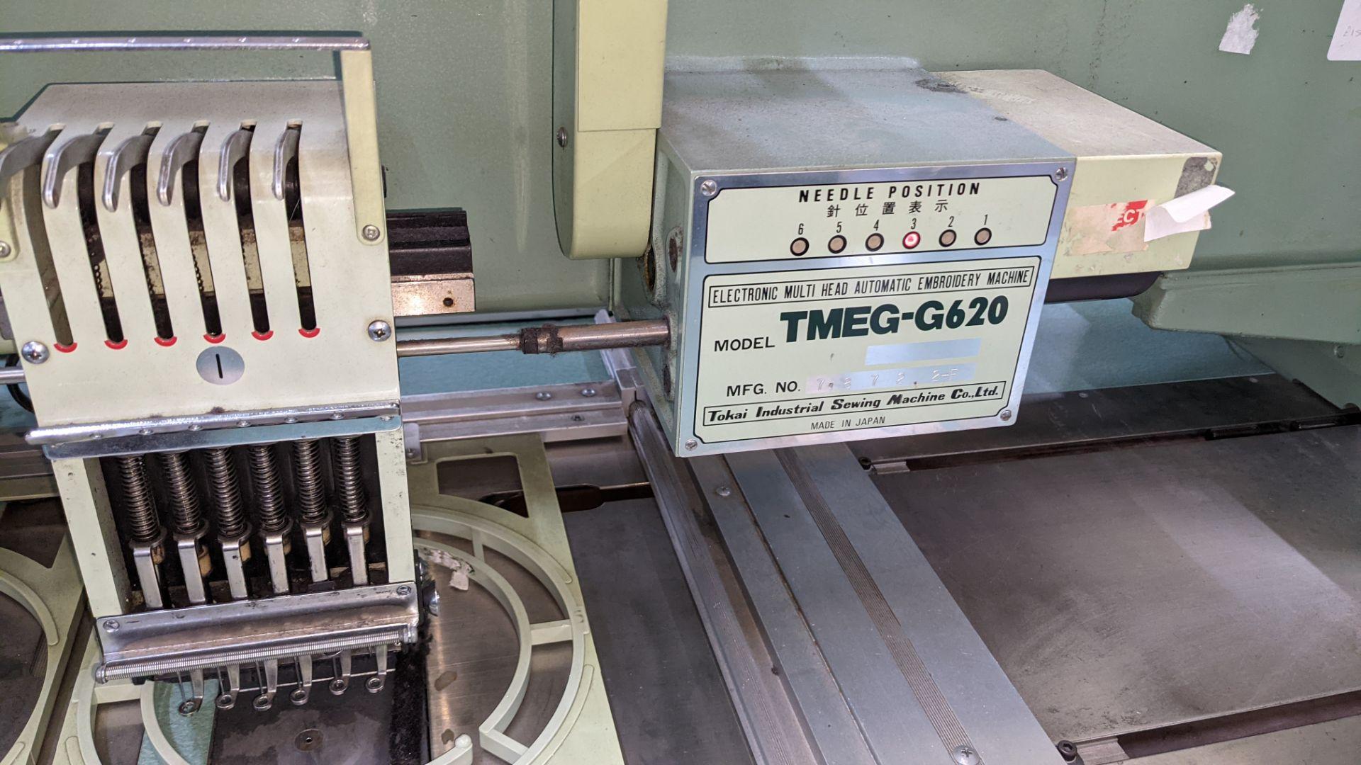 Tokai Tajima electronic 20 head automatic embroidery machine model TMEG-G620, manufacturing number 7 - Image 16 of 19