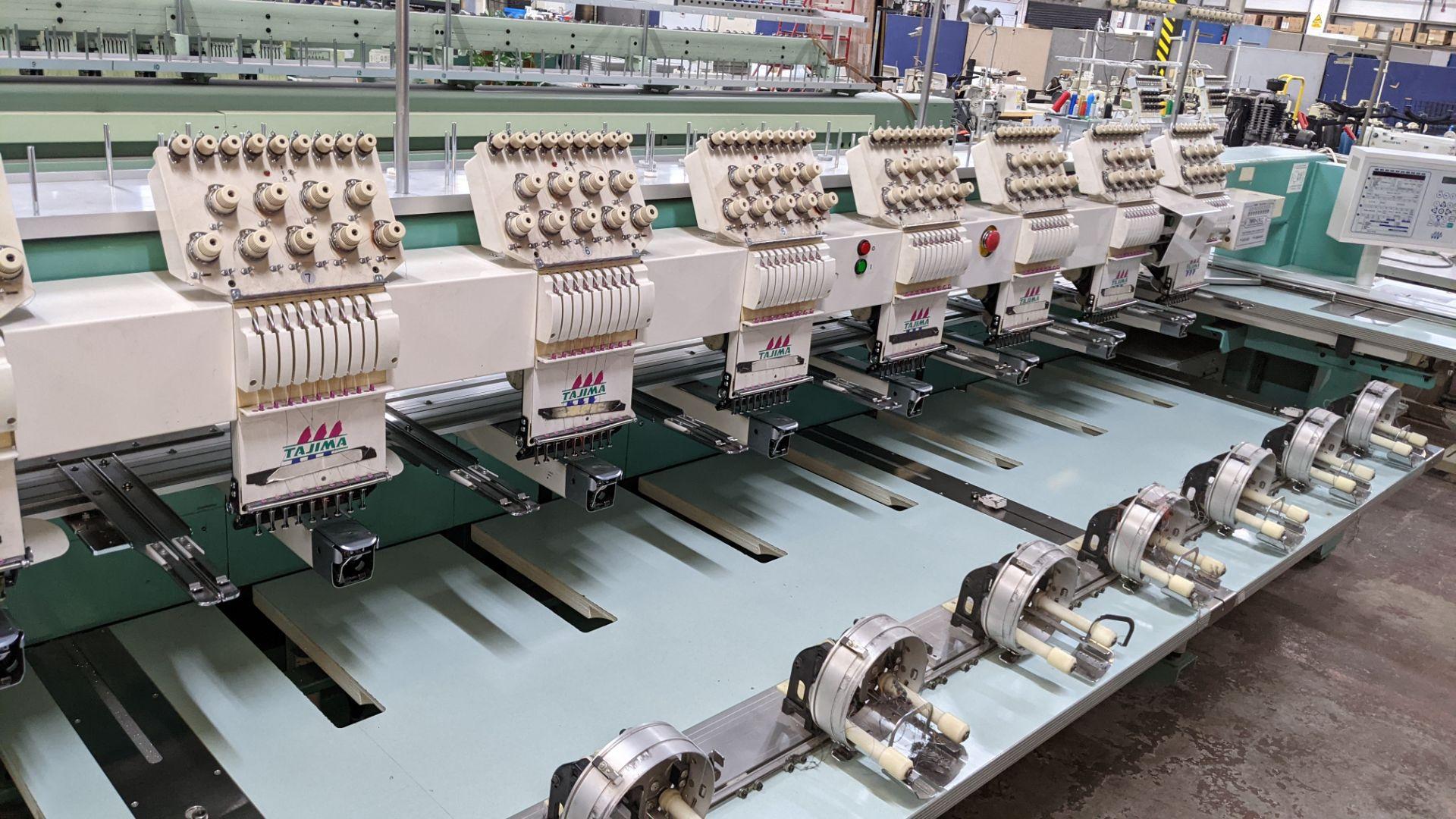 Tokai Tajima model TMFD-C912 electronic 12 head embroidery machine, type 2-2FX - Image 6 of 27