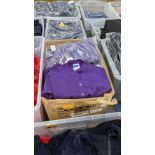 Quantity of Russell children's purple button up sweat tops - 1 large box