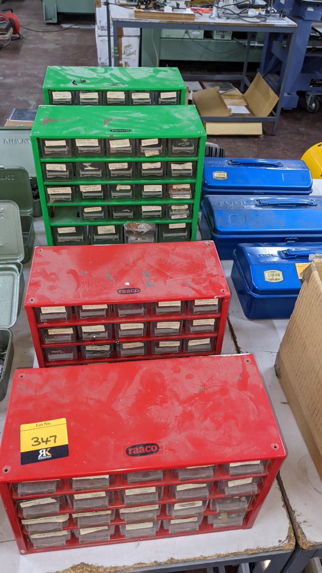 4 off mini cabinets & their contents of machinery parts & spares