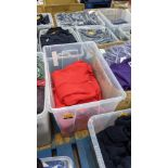 Approx 7 off children's zip up red hooded tops - the contents of 1 large crate. NB crate excluded