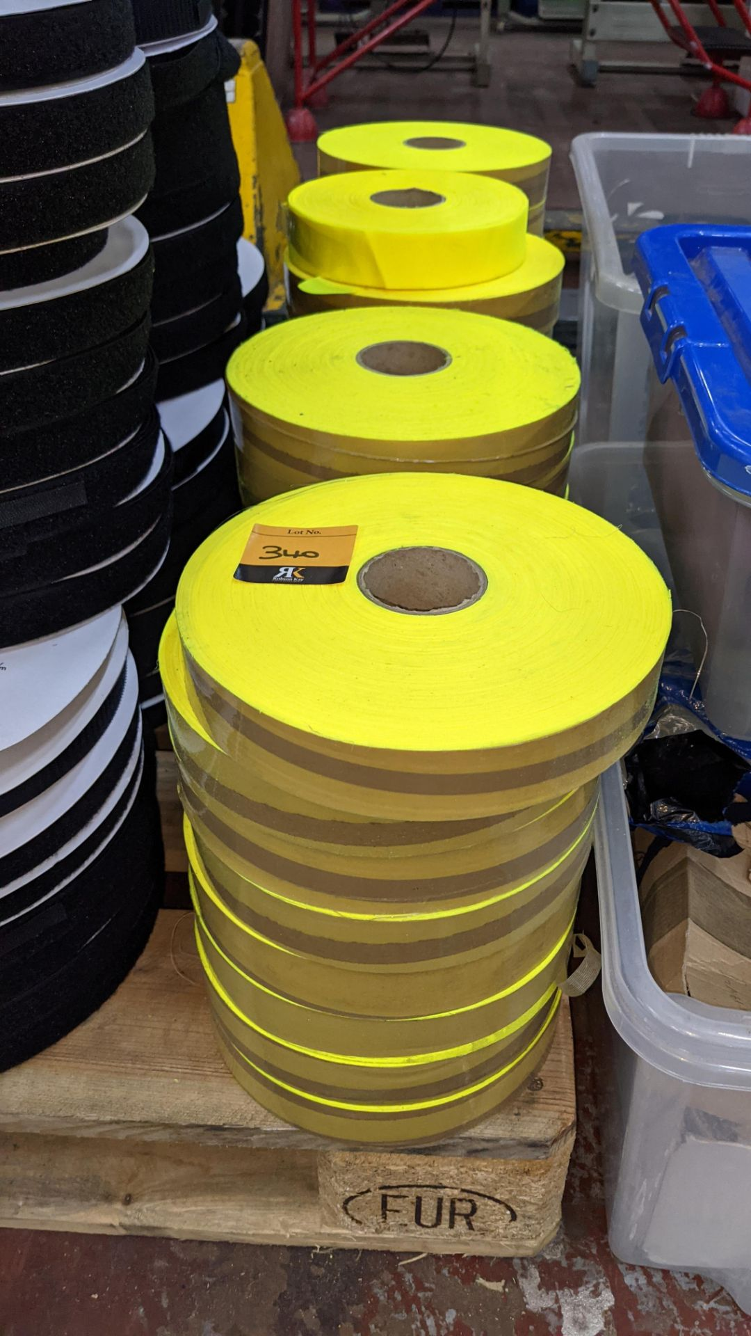 4 stacks of bright yellow tape/reflective material - Image 3 of 3
